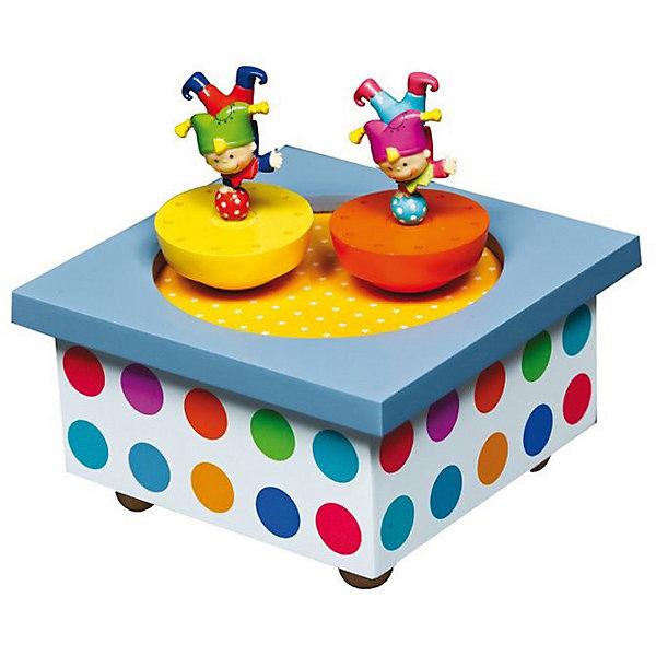 Музыкальная шкатулка Акробаты, TrousselierДетские предметы интерьера<br>Музыкальная шкатулка с механическим заводом кружащиеся фигурки на магнитах<br>40 лет Французский бренд Trousselier создает сказочный детский мир.<br>Как элемент декора может использоваться с рождения, как игрушка с 3-х лет<br>Музыкальная шкатулка с вращающимися на магнитах фигурками.<br>Фигурки вращаются под музыку после завода ключом, находящимся на дне шкатулки.<br>Минимальный возраст: 0 месяцев<br>Не давать ребенку в руки до 36 месяцев<br>Размер: 12 x 12 x 10 см<br>Материал: дерево, металл<br>Фигурки, крутящиеся под классическую музыку.<br>механический завод<br><br>Ширина мм: 111<br>Глубина мм: 111<br>Высота мм: 70<br>Вес г: 417<br>Возраст от месяцев: 0<br>Возраст до месяцев: 120<br>Пол: Унисекс<br>Возраст: Детский<br>SKU: 3972704