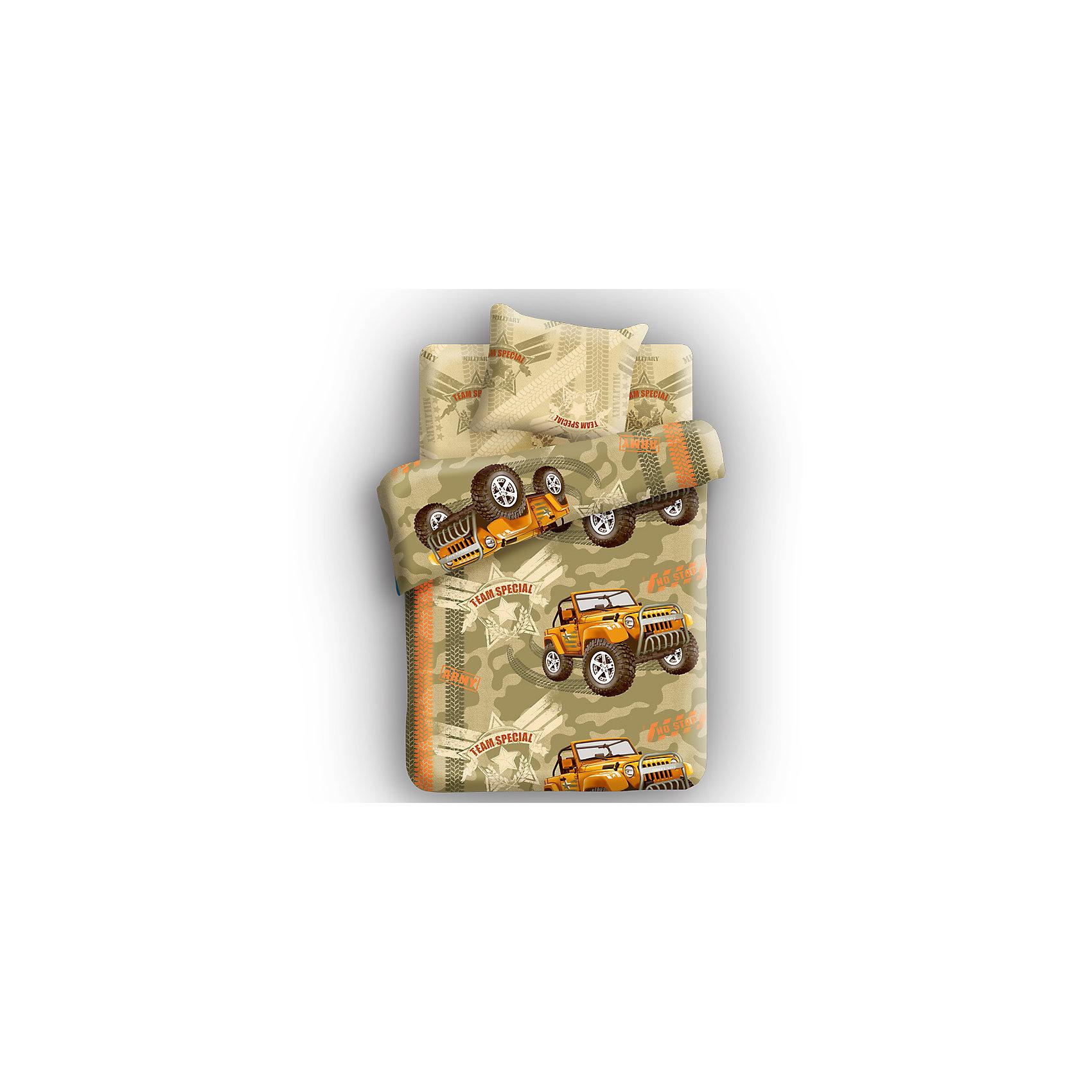 Комплект Армейский внедорожник 1,5-спальный (бязь), 4YOUКомплект выполнен в яркой, контрастной цветовой гамме, с оригинальным принтом, он обязательно понравится подростку.  Домашний текстиль торговой марки 4YOU – это новый стиль и модные тенденции. Эта торговая марка была создана, учитывая особенности возраста ребенка, она концептуально отличается от детских марок своими коллекциями текстиля, упаковкой и подходом в разработке продукции. Комплект выполнен  из натуральных материалов, не теряет яркость после стирки, приятен к телу.<br><br>Дополнительная информация:<br><br>- Комплектация: наволочка (1 шт.), простыня (1 шт.), пододеяльник на прорези (1 шт.).<br>- Материал: хлопок (бязь) 100%.<br>- Размер: наволочка -  70х70 см, простыня - 214х150 см, пододеяльник - 215х143 см.<br><br>Комплект Армейский внедорожник 1,5-спальный (бязь), 4YOU можно купить в нашем магазине.<br><br>Ширина мм: 220<br>Глубина мм: 330<br>Высота мм: 60<br>Вес г: 500<br>Возраст от месяцев: 36<br>Возраст до месяцев: 192<br>Пол: Мужской<br>Возраст: Детский<br>SKU: 3973752