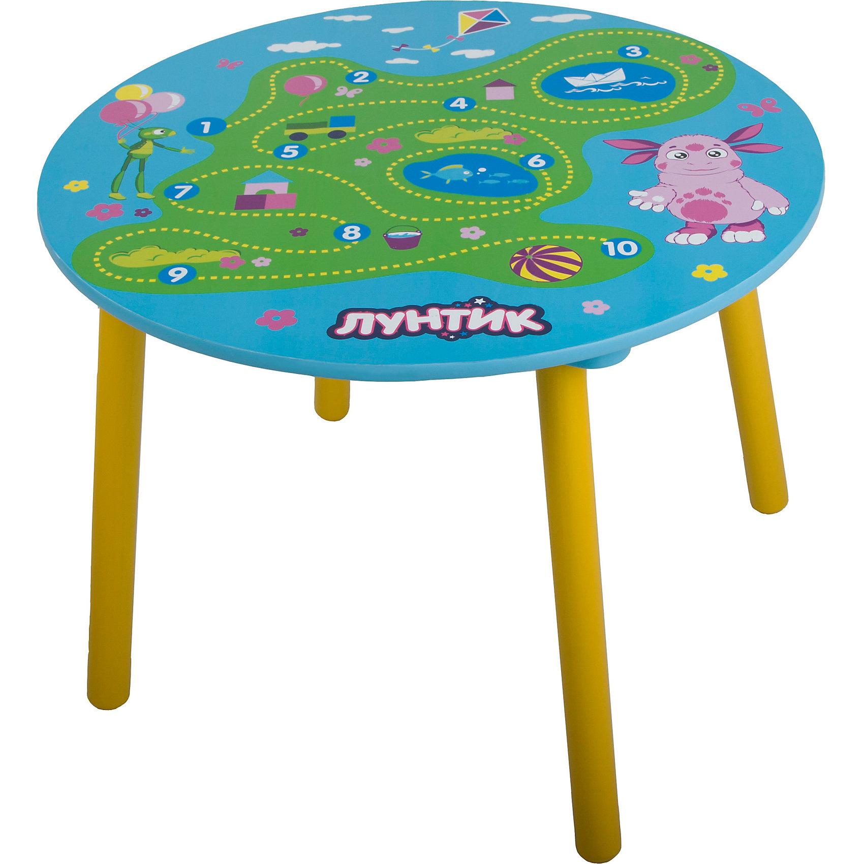 Круглый стол 60*60*44 см, Лунтик и его друзьяКруглый стол, Лунтик и его друзья - удобный устойчивый стол для малышей и дошкольников. Он одинаково хорошо подойдет и для учебных занятий, и для рисования, и для творчества и настольных игр. Стол, выполненный из экологического материала - дерева, оформлен по мотивам популярного мультсериала Лунтик. На поверхности столешницы расположена красочная игровая панель с игрой-бродилкой и цифрами от 1 до 10. Предназначен для детей 1-3 лет.<br><br>Дополнительная информация:<br><br>- Материал: дерево.<br>- Размер: 60 х 60 х 44 см.<br>- Размер упаковки: 65 х 65 х 6 см.<br>- Вес: 4,5 кг.<br><br>Круглый стол, Лунтик и его друзья, можно купить в нашем интернет-магазине.<br><br>Ширина мм: 650<br>Глубина мм: 650<br>Высота мм: 60<br>Вес г: 4500<br>Возраст от месяцев: 24<br>Возраст до месяцев: 72<br>Пол: Унисекс<br>Возраст: Детский<br>SKU: 3974557