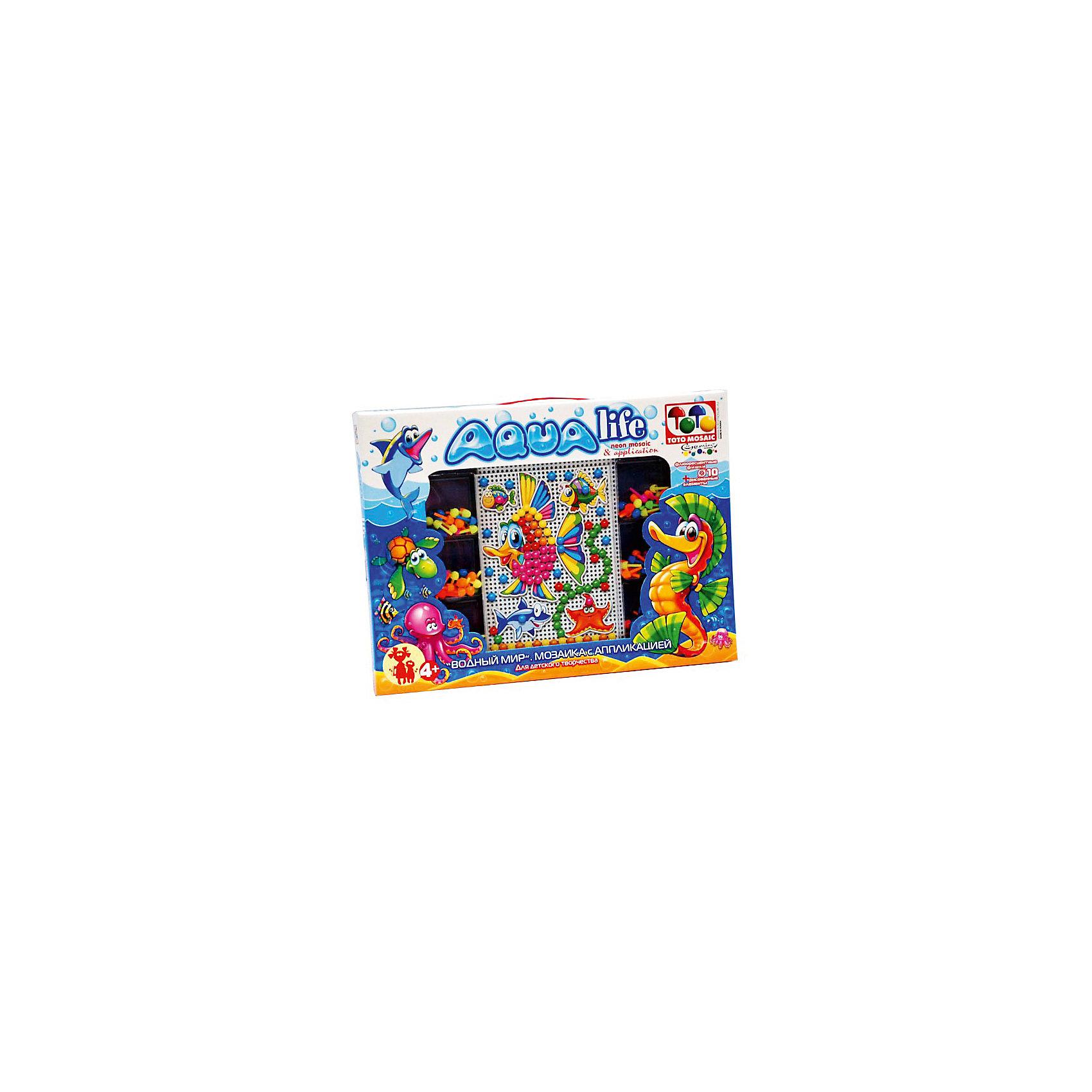 Toys Union Мозаика с аппликацией Водный мир, 140 деталей, д. 10 мм, Toys Union toys union напольная мозаика рыбка 25 деталей д 58 мм toys union