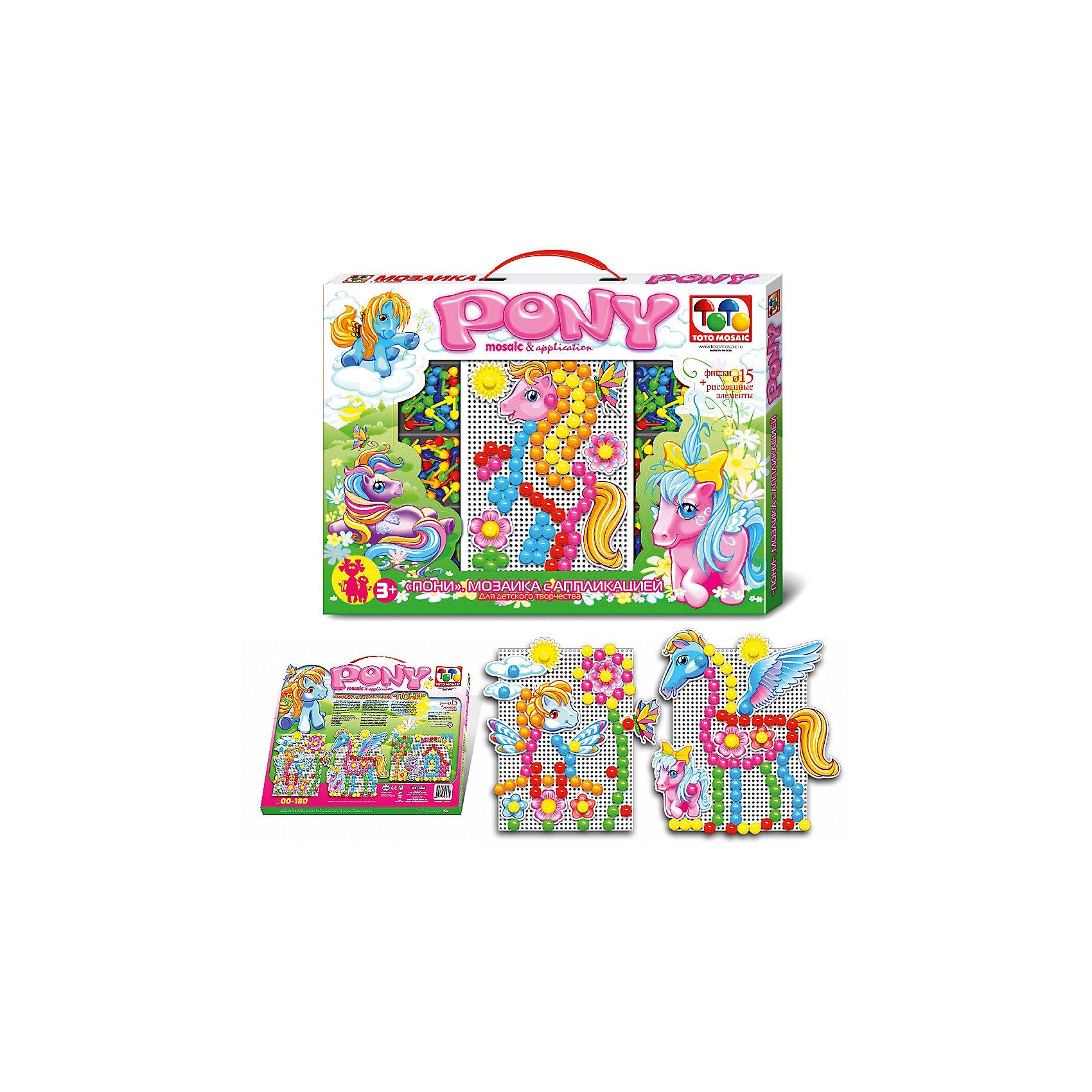 Toys Union Мозаика с аппликацией Пони, 90 деталей, д. 15 мм, Toys Union мозаика toys union зайчик