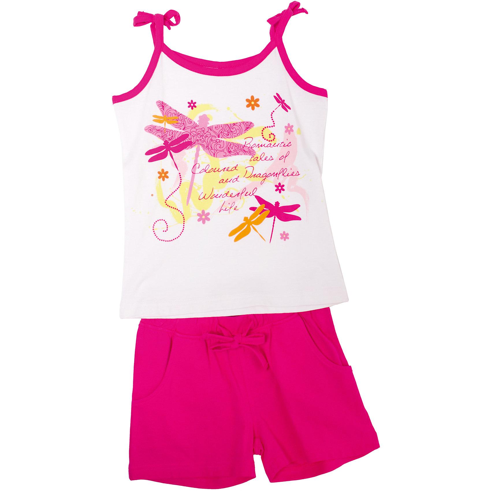 Комплект для девочки: футболка и шорты PlayTodayКомплект для девочки: футболка и шорты от известного бренда PlayToday <br>Прекрасный комплект на жаркую погоду для девочки <br>Футболка обработана контрастной бейкой <br>Завязочки на плечиках <br>Футболочка принтована разноцветными стрекозками <br>Шорты трикотажные дополненыдвумя функциональными карманами <br>Пояс на резинке украшенный тесьмой в тон изделия <br>Состав: 95% хлопок, 5% эластан<br><br>Ширина мм: 199<br>Глубина мм: 10<br>Высота мм: 161<br>Вес г: 151<br>Цвет: белый<br>Возраст от месяцев: 60<br>Возраст до месяцев: 72<br>Пол: Женский<br>Возраст: Детский<br>Размер: 116,98,104,110,122,128<br>SKU: 3978024