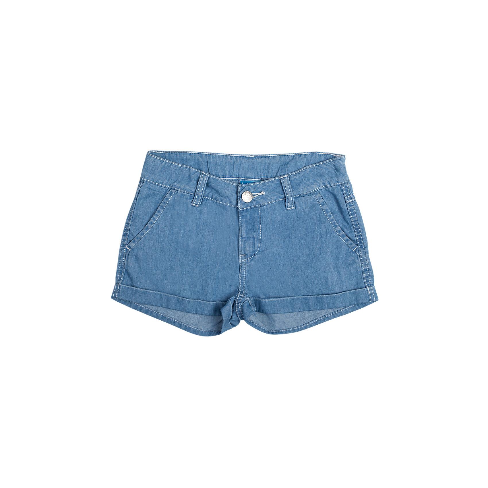 Шорты джинсовые для девочки Button BlueШорты, бриджи, капри<br>Классические шорты для девочки из джинсовой ткани хорошо облегают фигуру и  не сковывают движения. Прекрасно сочетаются с футболками и топами.<br>Состав:<br>100% хлопок<br><br>Размеры данного бренда маломерят. Рекомендуется заказывать на размер больше.<br><br>Ширина мм: 191<br>Глубина мм: 10<br>Высота мм: 175<br>Вес г: 273<br>Цвет: голубой<br>Возраст от месяцев: 84<br>Возраст до месяцев: 96<br>Пол: Женский<br>Возраст: Детский<br>Размер: 128,158,134,152,146,140<br>SKU: 3979404