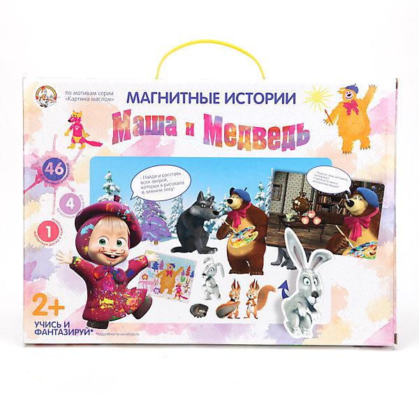 Магнитная мозаика Маша и Медведь. Картина масломНастольные игры для всей семьи<br>Оригинальная развивающая игра Магнитная мозаика Маша и Медведь. Картина маслом создана по мотивам популярного мультфильма «Маша и Медведь» серия «Картина маслом». В комплект входят магнитная доска, четыре игровых поля с увлекательными заданиями и 46 магнитных элементов. Задача ребенка – расположить элементы, изображающие лесных зверюшек или различные предметы, на игровом поле в соответствии с заданием. Задания в игре подобраны так, чтобы развить образное и логическое мышление, фантазию ребенка, его способность соотносить предметы с ситуацией и друг с другом, разделять их на группы по схожим признакам. <br><br>Комплектация:<br>-Магнитная доска<br>-4 игровых поля<br>-46 магнитных элементов<br><br>Дополнительная информация:<br>-Размер упаковки: 36,4х3,4х26 см<br>-Материалы: металл, картон<br><br>Знакомые герои из мультфильма сделают игру для ребенка еще увлекательнее, а восприятие новой информации – более простым и быстрым.<br><br>Магнитную мозаику Маша и Медведь. Картина маслом можно купить в нашем магазине.<br>Ширина мм: 364; Глубина мм: 340; Высота мм: 263; Вес г: 610; Возраст от месяцев: 24; Возраст до месяцев: 72; Пол: Женский; Возраст: Детский; SKU: 3982263;
