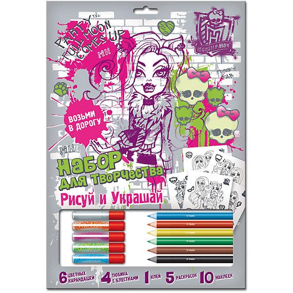 Раскраска с блестками Рисуй и украшай, Monster HighНаборы для раскрашивания<br>Раскраска с блестками Рисуй и украшай, Monster High (Монстр Хай) – этот набор для творчества порадует поклонниц мультсериала Школа Монстров.<br>Этот набор предназначен для создания красивых ярких картинок, которыми ваша девочка будет гордиться, и сможет повесить у себя в комнате. В наборе предусмотрено все необходимое раскраски, блестки, клей, карандаши, наклейки.<br><br>Дополнительная информация:<br><br>- В наборе: 5 раскрасок, 1 клей, 4 тюбика блесток, 6 карандашей, 10 наклеек<br><br>Раскраску с блестками Рисуй и украшай, Monster High (Монстр Хай) можно купить в нашем интернет-магазине.<br><br>Ширина мм: 500<br>Глубина мм: 350<br>Высота мм: 280<br>Вес г: 131<br>Возраст от месяцев: 60<br>Возраст до месяцев: 96<br>Пол: Женский<br>Возраст: Детский<br>SKU: 3986128