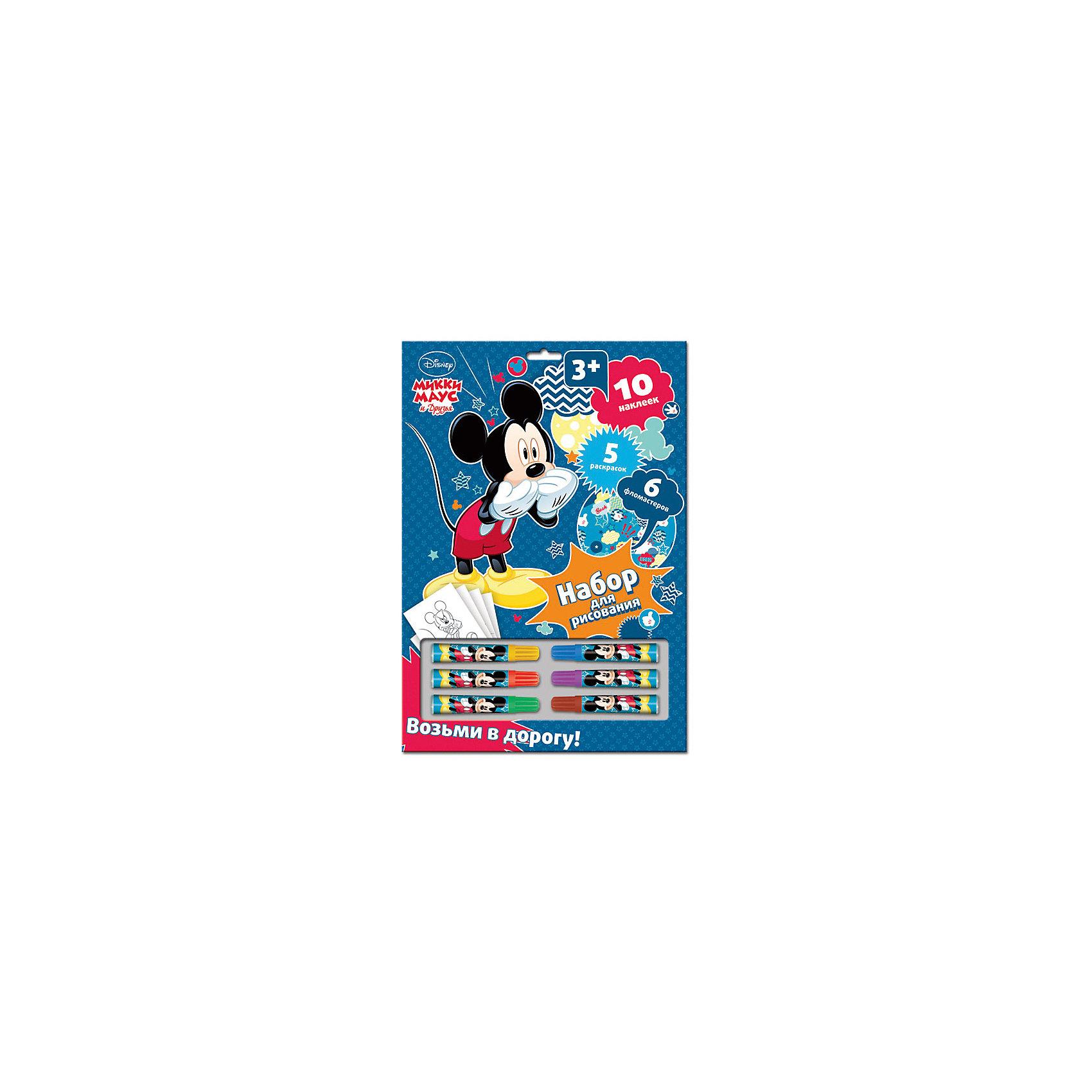 Набор для рисования с раскрасками и наклейками, Микки Маус