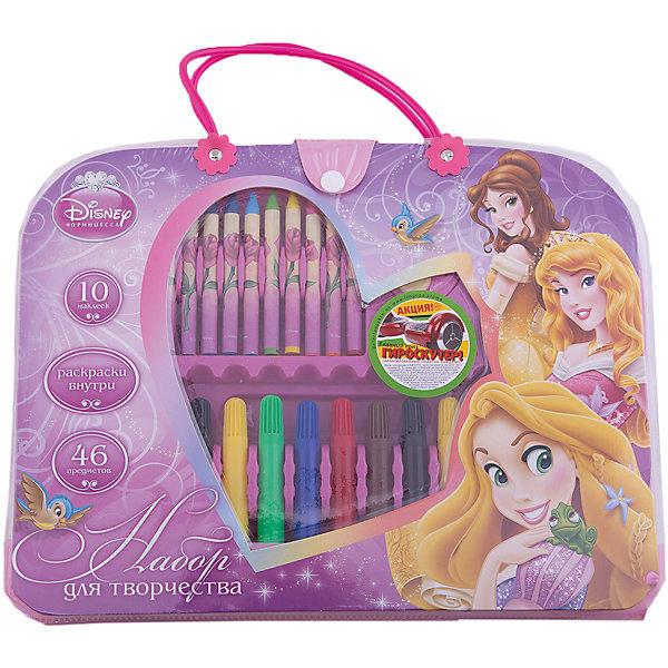 Набор для творчества (46 предметов), Принцессы ДиснейНаборы для раскрашивания<br>Набор для творчества (46 предметов), Disney Princess – это великолепный подарок для поклонницы принцесс Диснея.<br>Модный набор выполнен в форме симпатичного аксессуара-сумочки для маленькой модницы. Внутри сумочки полный комплект инструментов для творчества, а также раскраски и наклейки.<br><br>Дополнительная информация:<br><br>- В наборе: 12 фломастера, 12 мелков, ластик, точилка, клей, линейка, раскраски 5 шт., наклейки 10 шт., набор скрепок, стикер<br>- Размер сумочки: 32,5 х 25 х 4,2 см.<br><br>Набор для творчества (46 предметов), Disney Princess можно купить в нашем интернет-магазине.<br><br>Ширина мм: 20<br>Глубина мм: 280<br>Высота мм: 300<br>Вес г: 502<br>Возраст от месяцев: 60<br>Возраст до месяцев: 96<br>Пол: Женский<br>Возраст: Детский<br>SKU: 3986186