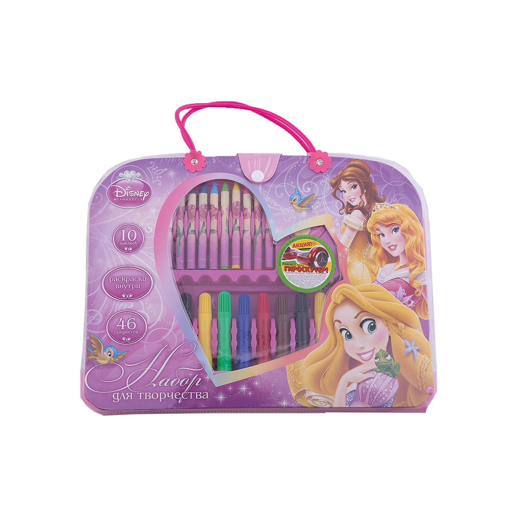 Набор для творчества (46 предметов), Принцессы ДиснейНабор для творчества (46 предметов), Disney Princess – это великолепный подарок для поклонницы принцесс Диснея.<br>Модный набор выполнен в форме симпатичного аксессуара-сумочки для маленькой модницы. Внутри сумочки полный комплект инструментов для творчества, а также раскраски и наклейки.<br><br>Дополнительная информация:<br><br>- В наборе: 12 фломастера, 12 мелков, ластик, точилка, клей, линейка, раскраски 5 шт., наклейки 10 шт., набор скрепок, стикер<br>- Размер сумочки: 32,5 х 25 х 4,2 см.<br><br>Набор для творчества (46 предметов), Disney Princess можно купить в нашем интернет-магазине.<br><br>Ширина мм: 20<br>Глубина мм: 280<br>Высота мм: 300<br>Вес г: 502<br>Возраст от месяцев: 60<br>Возраст до месяцев: 96<br>Пол: Женский<br>Возраст: Детский<br>SKU: 3986186