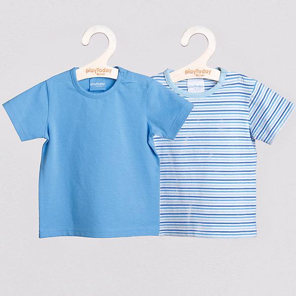 Футболка (2 шт.) для мальчика PlayTodayФутболки, топы<br>Футболка для мальчика (2 шт.) от известного бренда PlayToday. <br>Отличный комплект футболок с коротким рукавом для мальчика. <br>Приятные расцветки.  <br>Одно изделие однотонное, другое украшено ненавязчивым, спокойным принтом в горизонтальную полоску. <br>Обе модели легко комбинировать с другими предметами гардероба. Отличный выбор для базового летнего гардероба мальчика.   <br>* в комлекте два изделия <br>* округлый вырез горловины <br>* удобная застежка: кнопочки на плечике <br>* горловина обработана трикотажной бейкой <br>Состав: 100% хлопок<br><br>Ширина мм: 199<br>Глубина мм: 10<br>Высота мм: 161<br>Вес г: 151<br>Цвет: голубой<br>Возраст от месяцев: 6<br>Возраст до месяцев: 9<br>Пол: Мужской<br>Возраст: Детский<br>Размер: 74,80,86,92<br>SKU: 3987137