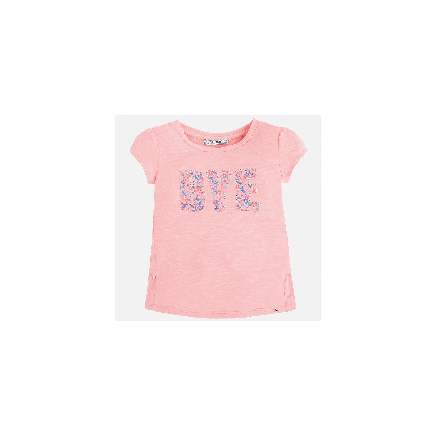 Футболка для девочки MayoralХарактеристики товара:<br><br>• цвет: розовый<br>• состав: 68% полиэстер, 28% вискоза, 4% эластан<br>• сложный крой<br>• декорирована принтом<br>• короткие рукава<br>• страна бренда: Испания<br><br>Модная оригинальная футболка для девочки поможет разнообразить гардероб ребенка и украсить наряд. Она отлично сочетается и с юбками, и с шортами, и с брюками. Универсальный цвет позволяет подобрать к вещи низ практически любой расцветки. Интересная отделка модели делает её нарядной и оригинальной. В составе материала - натуральный хлопок, гипоаллергенный, приятный на ощупь, дышащий.<br><br>Одежда, обувь и аксессуары от испанского бренда Mayoral полюбились детям и взрослым по всему миру. Модели этой марки - стильные и удобные. Для их производства используются только безопасные, качественные материалы и фурнитура. Порадуйте ребенка модными и красивыми вещами от Mayoral! <br><br>Футболку для девочки от испанского бренда Mayoral (Майорал) можно купить в нашем интернет-магазине.<br><br>Ширина мм: 199<br>Глубина мм: 10<br>Высота мм: 161<br>Вес г: 151<br>Цвет: розовый<br>Возраст от месяцев: 18<br>Возраст до месяцев: 24<br>Пол: Женский<br>Возраст: Детский<br>Размер: 92,104,122,128,134,116,98,110<br>SKU: 3992128