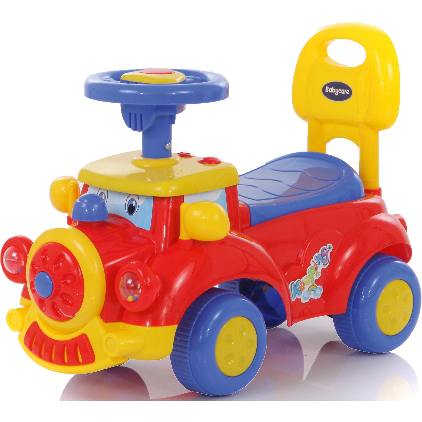 Каталка Keeping, красная,  Baby CareХарактеристики:<br><br>• пластиковая каталка легкая и маневренная;<br>• каталка оснащена высокой спинкой и удобным рулем;<br>• поворот руля поворачивает передние колеса каталки;<br>• музыкальное сопровождение, длительность песенки около 1 минуты;<br>• сиденье поднимается, под сиденьем имеется багажник-углубление для игрушек;<br>• колеса пластиковые, гладкие;<br>• допустимый вес ребенка: до 20 кг;<br>• диаметр колес: 12 см;<br>• диаметр руля: 13 см;<br>• размер каталки: длина 45 см, ширина 20 см;<br>• вес каталки: 1,5 кг;<br>• размер упаковки: 53х24х26 см.<br><br>Детская каталка для малышей пригодится на улице во время подвижных игр, поможет компактно сложить игрушки в «багажник», научить малыша координировать свои движения. <br><br>Каталку Keeping, красную, Baby Care можно купить в нашем интернет-магазине.<br><br>Ширина мм: 530<br>Глубина мм: 280<br>Высота мм: 380<br>Вес г: 1500<br>Возраст от месяцев: 12<br>Возраст до месяцев: 60<br>Пол: Унисекс<br>Возраст: Детский<br>SKU: 3992533