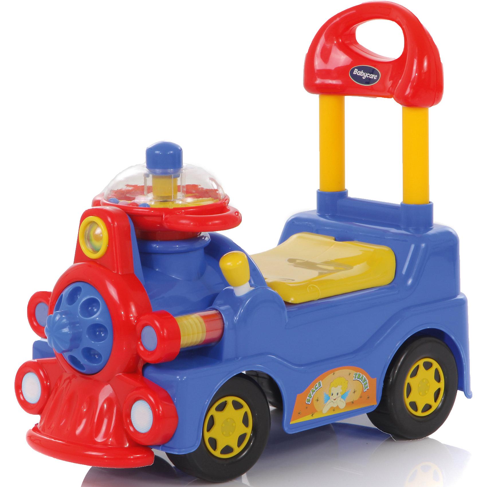 Каталка Train, голубая,  Baby CareХарактеристики:<br><br>• пластиковая каталка легкая и маневренная;<br>• каталка оснащена высокой спинкой и удобным рулем;<br>• поворот руля поворачивает передние колеса каталки;<br>• сиденье поднимается, под сиденьем имеется багажник-углубление для игрушек;<br>• колеса пластиковые;<br>• допустимый вес ребенка: до 30 кг;<br>• размер каталки: 57х27х51;<br>• вес каталки: 3 кг.<br><br>Детская каталка для малышей пригодится на улице во время подвижных игр, поможет компактно сложить игрушки в «багажник», научит малыша координировать свои движения. <br><br>Каталку Train, голубую, Baby Care можно купить в нашем интернет-магазине.<br><br>Ширина мм: 570<br>Глубина мм: 270<br>Высота мм: 510<br>Вес г: 3000<br>Возраст от месяцев: 12<br>Возраст до месяцев: 48<br>Пол: Унисекс<br>Возраст: Детский<br>SKU: 3992534