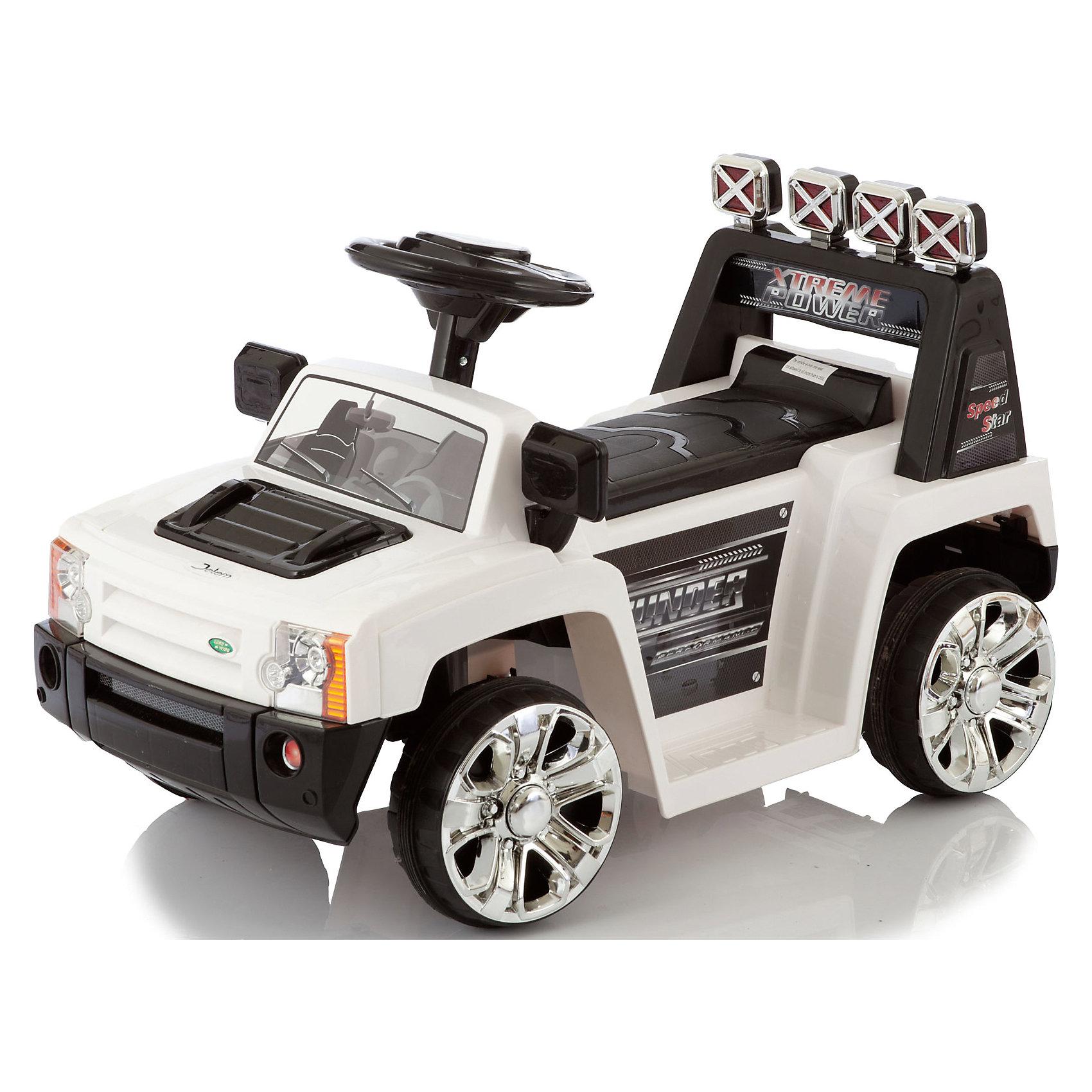 Электромобиль Rover V005, белый,  JetemJetem Rover – модель, основанная на известном внедорожнике, с посадочным местом, как у квадроциклов (ноги по бокам). Надежный и маневренный электромобиль идеально подходит для увлекательных и комфортных детских прогулок. Родители могут управлять движениями машины с помощью пульта радиоуправления. Светящие фары, звуковой сигнал, ремни безопасности, разъем для подключения МР3-плеера или радио, зеркала заднего вида - делают машину максимально похожей на настоящий, взрослый автомобиль, что, безусловно, приведет в восторг любого юного автолюбителя!  <br><br>Дополнительная информация:<br><br>- Материал: пластик, металл, резина.<br>- Размер: 70х35х30 см.<br>- На радиоуправлении (радиус 30 м).<br>- Световые, звуковые эффекты.<br>- Разъем для подключения МР3-плеера или радио.<br>- Время работы: 1,5 часа. <br>- Максимальная скорость: 2,5 км/ч.<br>- Время подзарядки аккумулятора: 10-12 часов.<br>- Ремень безопасности.<br>- Элементы питания: двигатель DC 6V/12W -  аккумулятор 6В, /4,5A, пульт управления - 2 батарейки АА.<br>- 1 скорость вперед, 1 назад.<br>- Максимальная нагрузка: 20 кг<br>- Вес: 6,5 кг<br>- Цвет: белый.<br>- Одно посадочное место.<br> <br>Электромобиль Rover V005, белый,  Jetem (Жетем) можно купить в нашем магазине.<br><br>Ширина мм: 700<br>Глубина мм: 350<br>Высота мм: 300<br>Вес г: 8000<br>Возраст от месяцев: 36<br>Возраст до месяцев: 84<br>Пол: Унисекс<br>Возраст: Детский<br>SKU: 3992553
