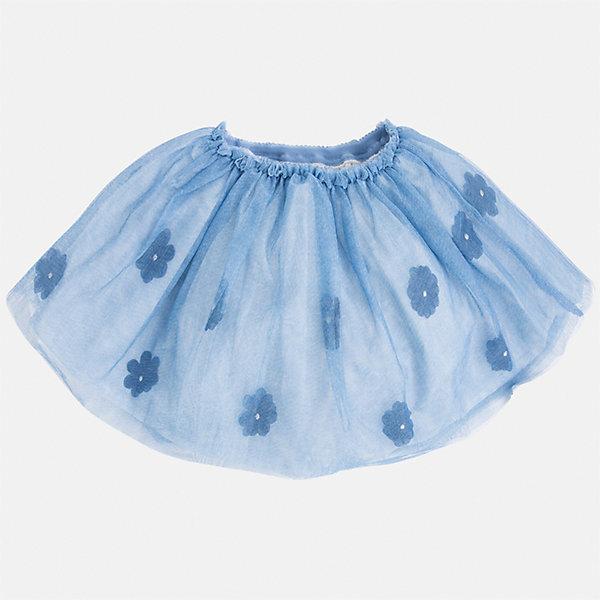 Юбка для девочки MayoralЮбки<br>Характеристики товара:<br><br>• цвет: голубой<br>• состав: 100% полиэстер, подкладка - 70% полиэстер, 30% хлопок<br>• пояс на резинке<br>• легкий материал<br>• с подкладкой<br>• верхний слой - с цветами<br>• страна бренда: Испания<br><br>Легкая юбка для девочки поможет разнообразить гардероб ребенка и создать эффектный наряд. Она отлично сочетаются с майками, футболками, блузками. Красивый оттенок позволяет подобрать к вещи верх разных расцветок. В составе материала подкладки - натуральный хлопок, гипоаллергенный, приятный на ощупь, дышащий. Юбка отлично сидит и не стесняет движения.<br><br>Одежда, обувь и аксессуары от испанского бренда Mayoral полюбились детям и взрослым по всему миру. Модели этой марки - стильные и удобные. Для их производства используются только безопасные, качественные материалы и фурнитура. Порадуйте ребенка модными и красивыми вещами от Mayoral! <br><br>Юбку для девочки от испанского бренда Mayoral (Майорал) можно купить в нашем интернет-магазине.<br><br>Ширина мм: 207<br>Глубина мм: 10<br>Высота мм: 189<br>Вес г: 183<br>Цвет: синий<br>Возраст от месяцев: 24<br>Возраст до месяцев: 36<br>Пол: Женский<br>Возраст: Детский<br>Размер: 98,134,110,116,128,122,104<br>SKU: 3993132