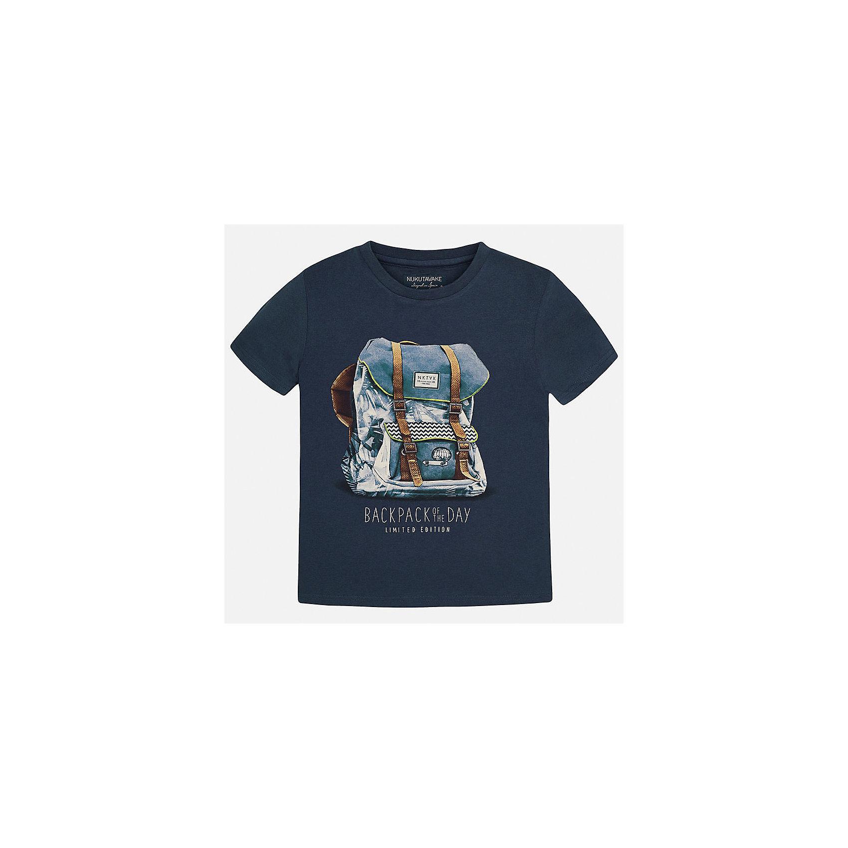 Футболка для мальчика MayoralФутболки, поло и топы<br>Характеристики товара:<br><br>• цвет: темно-синий<br>• состав: 100% хлопок<br>• круглый горловой вырез<br>• принт впереди<br>• короткие рукава<br>• отделка горловины<br>• страна бренда: Испания<br><br>Стильная футболка с принтом поможет разнообразить гардероб мальчика. Она отлично сочетается с брюками, шортами, джинсами и т.д. Универсальный крой и цвет позволяет подобрать к вещи низ разных расцветок. Практичное и стильное изделие! В составе материала - только натуральный хлопок, гипоаллергенный, приятный на ощупь, дышащий.<br>Одежда, обувь и аксессуары от испанского бренда Mayoral полюбились детям и взрослым по всему миру. Модели этой марки - стильные и удобные. Для их производства используются только безопасные, качественные материалы и фурнитура. Порадуйте ребенка модными и красивыми вещами от Mayoral! <br><br>Футболку-поло для мальчика от испанского бренда Mayoral (Майорал) можно купить в нашем интернет-магазине.<br><br>Ширина мм: 199<br>Глубина мм: 10<br>Высота мм: 161<br>Вес г: 151<br>Цвет: желтый<br>Возраст от месяцев: 108<br>Возраст до месяцев: 120<br>Пол: Женский<br>Возраст: Детский<br>Размер: 140,128,152,158,164<br>SKU: 3993343
