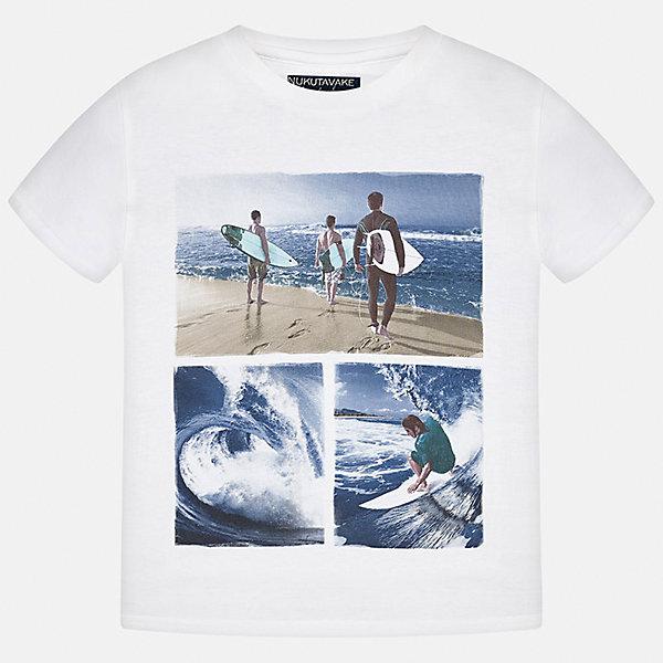 Футболка для мальчика MayoralФутболки, поло и топы<br>Характеристики товара:<br><br>• цвет: белый<br>• состав: 100% хлопок<br>• круглый горловой вырез<br>• принт впереди<br>• короткие рукава<br>• отделка горловины<br>• страна бренда: Испания<br><br>Стильная футболка с принтом поможет разнообразить гардероб мальчика. Она отлично сочетается с брюками, шортами, джинсами и т.д. Универсальный крой и цвет позволяет подобрать к вещи низ разных расцветок. Практичное и стильное изделие! В составе материала - только натуральный хлопок, гипоаллергенный, приятный на ощупь, дышащий.<br><br>Одежда, обувь и аксессуары от испанского бренда Mayoral полюбились детям и взрослым по всему миру. Модели этой марки - стильные и удобные. Для их производства используются только безопасные, качественные материалы и фурнитура. Порадуйте ребенка модными и красивыми вещами от Mayoral! <br><br>Футболку-поло для мальчика от испанского бренда Mayoral (Майорал) можно купить в нашем интернет-магазине.<br>Ширина мм: 199; Глубина мм: 10; Высота мм: 161; Вес г: 151; Цвет: бежевый; Возраст от месяцев: 84; Возраст до месяцев: 96; Пол: Женский; Возраст: Детский; Размер: 128/134,164,170,128,140,158,152; SKU: 3993348;