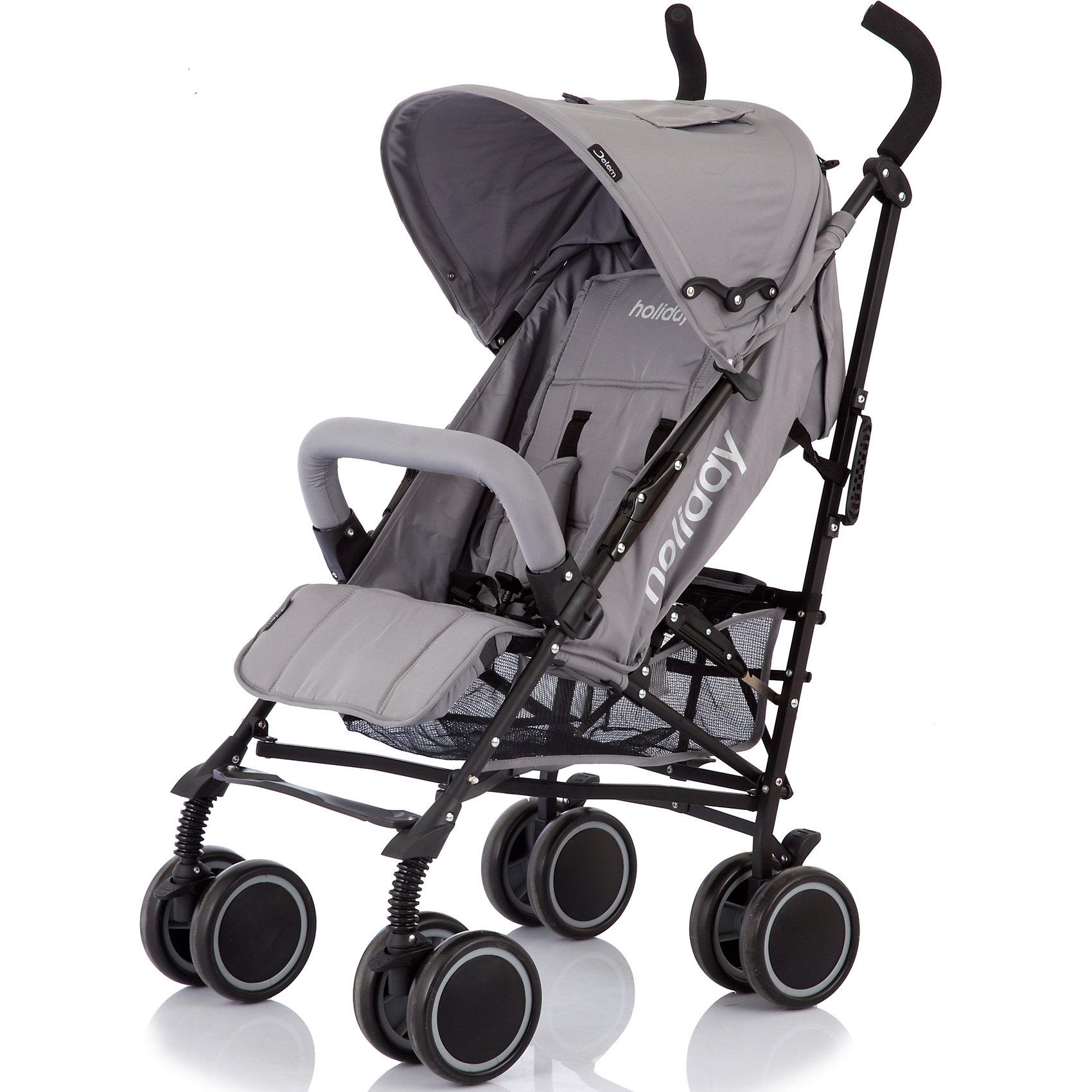 Коляска-трость Jetem Holiday, серыйНедорогие коляски<br>Jetem Holiday – современная, легкая, компактная, прочная и надежная коляска-трость. Металлическая рама и система амортизации обеспечивают прочность и комфорт при передвижении. Коляска имеет простой, удобный механизм складывания - занимает мало места при хранении; ее удобно перевозить в общественном транспорте, автомобиле. Большой капюшон опускается до бампера, спинка может принимать горизонтальное положение, а сдвоенные мягкие плавающие  колеса обеспечивают плавный ход и хорошую проходимость. 5-титочечные ремни безопасности, съемный бампер перед ребенком и смотровые окошки в капюшоне гарантируют безопасное и комфортное передвижение. <br><br>Дополнительная информация:<br><br>- Комплектация: коляска, чехол на ножки.<br>- Материал: металл, пластик, текстиль.<br>- Размер: 63х48х107 см.<br>- Размер в сложенном виде: 35х35х115 см.<br>- Ширина шасси: 53 см.<br>- Размер сиденья: 32 см.<br>- Длина спального места: 65 см.<br>- Вес: 7,5 кг.<br>- Тип колес: пластиковые.<br>- Количество колес: 4 (сдвоенные).<br>- Диаметр колес: 15 см.<br>- Цвет: серый.<br>- Передние колеса поворотные, с возможностью блокировки.<br>- Система амортизации.<br>- Стояночный тормоз.<br>- 5-титочечные ремни безопасности.<br>- Съемный бампер.<br>- Регулировка спинки в 3 положениях (до 160 градусов).<br>- Козырек может опускаться до бампера.<br>- Регулируемая подножка.<br>- Вместительная корзина.<br>- Ручка для переноски в сложенном виде.<br><br>Коляску-трость Holiday, Jetem (Жетем), серую, можно купить в нашем магазине.<br><br>Ширина мм: 1080<br>Глубина мм: 250<br>Высота мм: 230<br>Вес г: 10500<br>Возраст от месяцев: 6<br>Возраст до месяцев: 36<br>Пол: Унисекс<br>Возраст: Детский<br>SKU: 3995779
