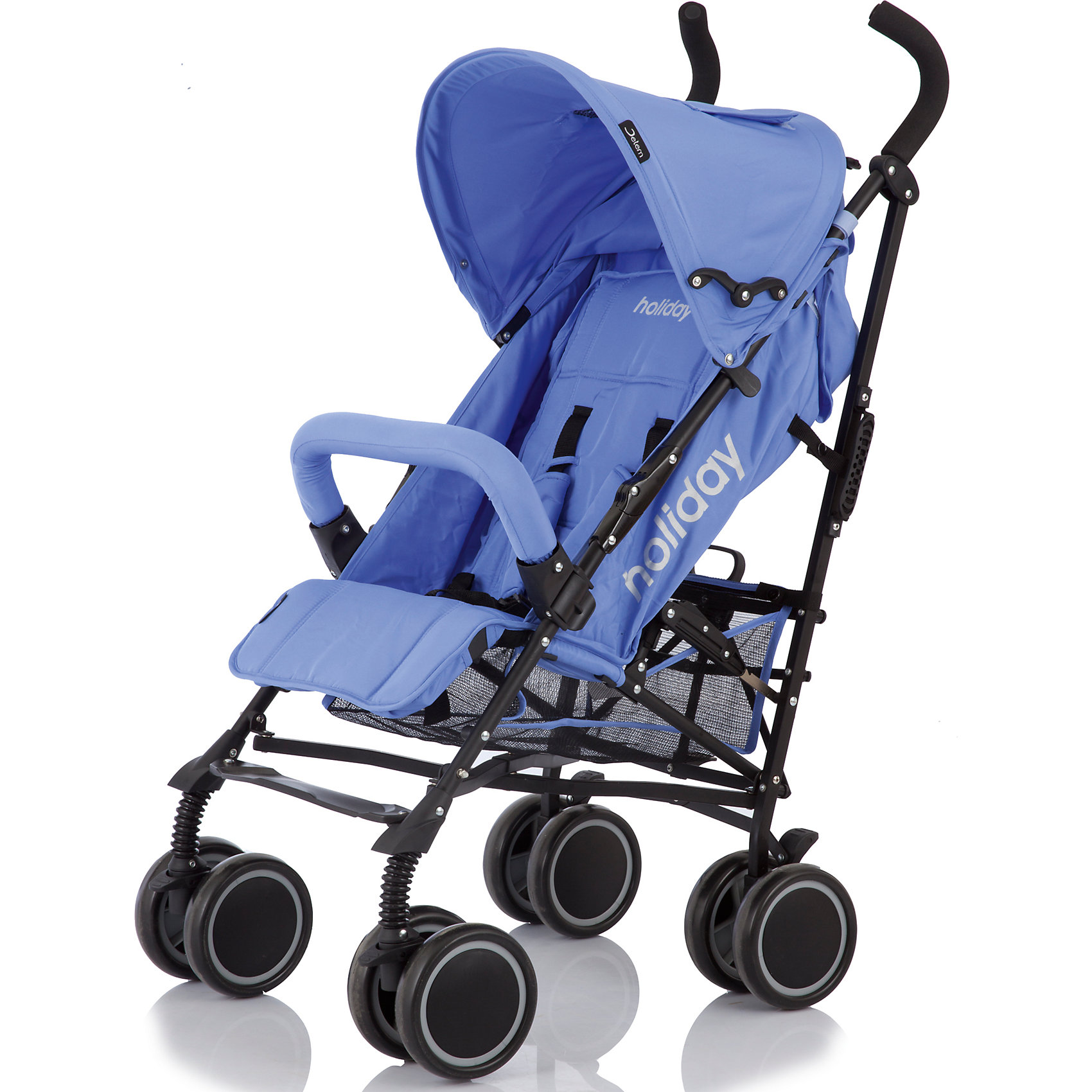 Коляска-трость Jetem Holiday, фиолетовыйНедорогие коляски<br>Jetem Holiday – современная, легкая, компактная, прочная и надежная коляска-трость. Металлическая рама и система амортизации обеспечивают прочность и комфорт при передвижении. Коляска имеет простой, удобный механизм складывания - занимает мало места при хранении; ее удобно перевозить в общественном транспорте, автомобиле. Большой капюшон опускается до бампера, спинка может принимать горизонтальное положение, а сдвоенные мягкие плавающие  колеса обеспечивают плавный ход и хорошую проходимость. 5-титочечные ремни безопасности, съемный бампер перед ребенком и смотровые окошки в капюшоне гарантируют безопасное и комфортное передвижение. <br><br>Дополнительная информация:<br><br>- Комплектация: коляска, чехол на ножки.<br>- Материал: металл, пластик, текстиль.<br>- Размер: 63х48х107 см.<br>- Размер в сложенном виде: 35х35х115 см.<br>- Ширина шасси: 53 см.<br>- Размер сиденья: 32 см.<br>- Длина спального места: 65 см.<br>- Вес: 7,5 кг.<br>- Тип колес: пластиковые.<br>- Количество колес: 4 (сдвоенные).<br>- Диаметр колес: 15 см.<br>- Цвет: фиолетовый.<br>- Передние колеса поворотные, с возможностью блокировки.<br>- Система амортизации.<br>- Стояночный тормоз.<br>- 5-титочечные ремни безопасности.<br>- Съемный бампер.<br>- Регулировка спинки в 3 положениях (до 160 градусов).<br>- Козырек может опускаться до бампера.<br>- Регулируемая подножка.<br>- Вместительная корзина.<br>- Ручка для переноски в сложенном виде.<br><br>Коляску-трость Holiday, Jetem (Жетем), фиолетовую, можно купить в нашем магазине.<br><br>Ширина мм: 1080<br>Глубина мм: 250<br>Высота мм: 230<br>Вес г: 10500<br>Возраст от месяцев: 6<br>Возраст до месяцев: 36<br>Пол: Унисекс<br>Возраст: Детский<br>SKU: 3995782