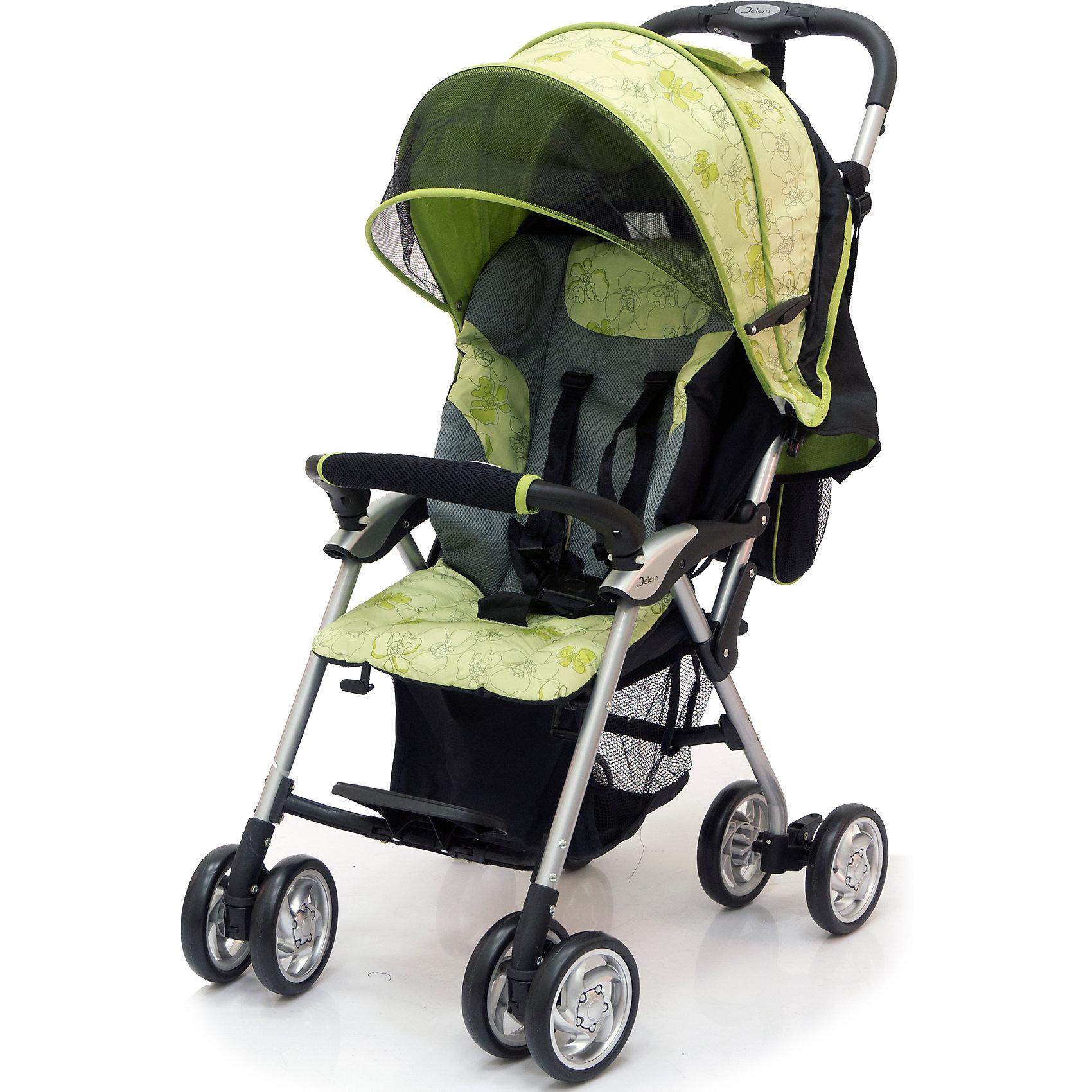 Jetem Прогулочная коляска Elegant, Jetem, черный/зеленый коляска трость jetem elegant dark grey blue полоска
