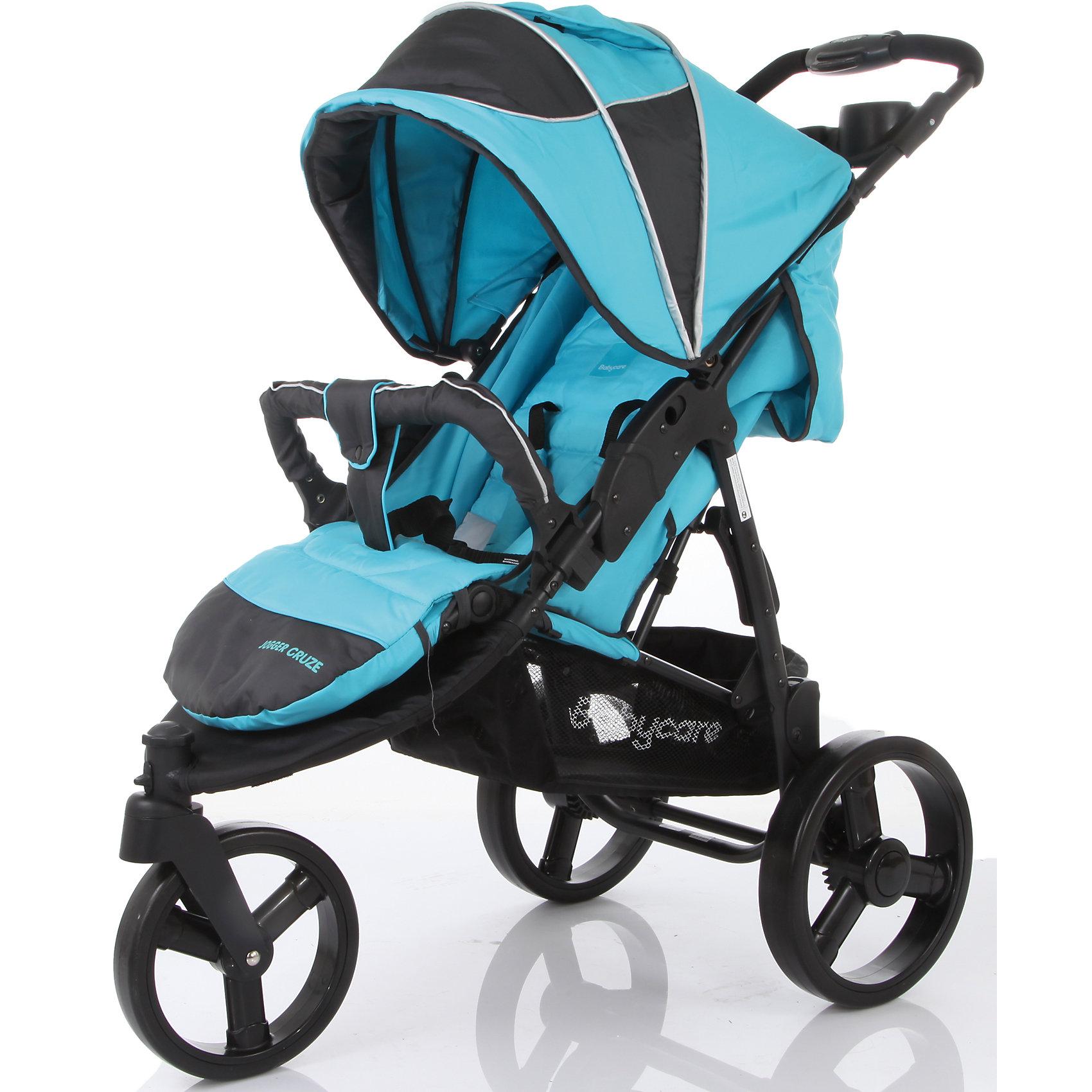 Прогулочная коляска Baby Care Jogger Cruze, синийПрогулочные коляски<br>Характеристики коляски Baby Care Jogger Cruze:<br><br>• угол наклона спинки регулируется почти до горизонтального;<br>• регулируемый капюшон оснащен солнцезащитным козырьком, опускается до бампера;<br>• на капюшоне имеется смотровое окошко под клапаном;<br>• регулируемая подножка;<br>• наличие 5-ти точечных ремней безопасности с мягкими накладками;<br>• каркасный съемный бампер с мягким чехлом;<br>• тканевый разделитель для ножек, крепится кнопкой к бамперу;<br>• материал прогулочного блока: полиэстер. <br><br>Обратите внимание: на капюшоне в открытом положении нет фиксатора. <br><br>Характеристики шасси коляски Baby Care Jogger Cruze:<br><br>• 3-х колесная коляска;<br>• пластиковые колеса большого диаметра;<br>• переднее поворотное колесо с блокировкой;<br>• наличие амортизаторов;<br>• задний стояночный тормоз;<br>• столик с подстаканником на раме коляски;<br>• вместительная корзина для покупок;<br>• тип складывания: книжка;<br>• материал рамы: алюминий;<br>• материал колес: пластик.<br><br>Маневренная прогулочная коляска с высокой степенью проходимости предназначена для детей в возрасте от 6 месяцев до 3-х лет, вес которых находится в пределах 15 кг. Регулируемая спинка и подножка позволяют подобрать для малыша удобное положение как во время сна, так и во время бодрствования.  <br><br>Размеры коляски:<br><br>• размер в разложенном виде: 80x53x105 см;<br>• вес коляски: 9 кг;<br>• размер сиденья: 40х42 см;<br>• длина спального места: 80 см;<br>• высота ручки: 105 см;<br>• ширина колесной базы: 53 см;<br>• диаметр переднего колеса: 20 см;<br>• диаметр заднего колеса: 27 см;<br>• вес упаковки: 10,5 кг.<br><br>Комплектация: <br><br>• прогулочный блок с капюшоном и бампером;<br>• шасси с колесами и корзиной для покупок;<br>• чехол на ножки;<br>• дождевик;<br>• подстаканник;<br>• инструкция. <br><br>Прогулочную коляску Jogger Cruze, Baby Care, синюю можно купить в нашем интернет-магазине.<br><br>Шири