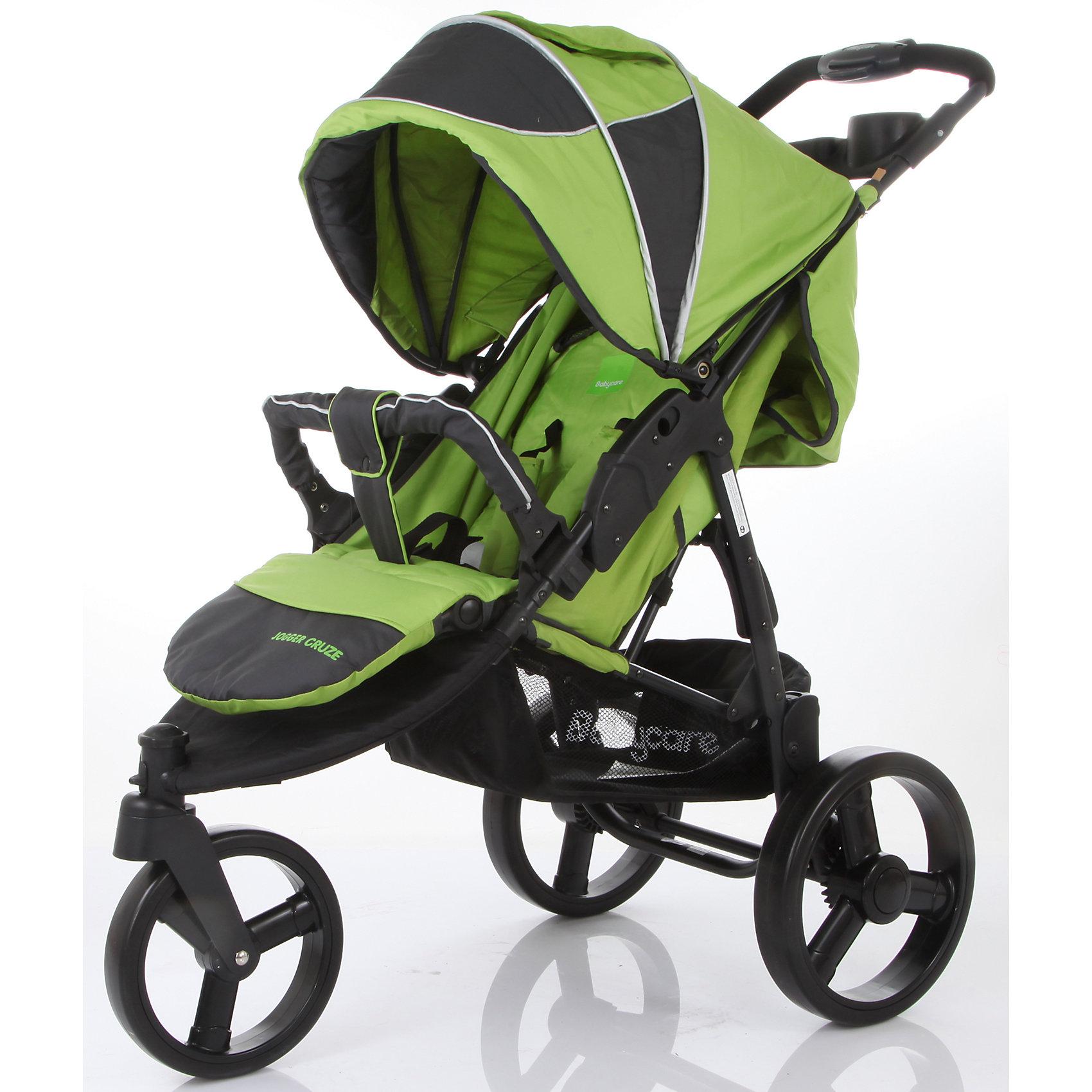 Прогулочная коляска Jogger Cruze, Baby Care, зеленыйBaby Care Jogger Cruze – трехколесная прогулочная коляска на облегченной алюминиевой раме. Даная модель отлично подойдет для динамичных молодых родителей. Колеса большого диаметра обеспечивают хороший плавный ход, маневренность, высокую проходимость. Переднее колесо - поворотное с функцией фиксации, для более удобного движения по прямой. Модель идеально подходит для любых погодных условий. Материал коляски имеет водоотталкивающую пропитку. Капюшон защищает от снега, воды и солнца, опускается до бампера, в комплект входит утепленная накидка для ног. Для комфортного сна ребенка в любой ситуации и в любом месте, регулируемая спинка может откидываться до почти горизонтального положения. 5-титочечные ремни  и съемный бампер с мягкой накладкой подарят комфорт и безопасность крохе. Для удобства родителей модель оснащена съемным столиком с двумя подстаканниками и большой сетчатой корзиной для покупок. Коляска легко складывается, занимает мало места при хранении и транспортировке, колеса снимаются. <br><br>Дополнительная информация:<br><br>- Механизм складывания: книжка.<br>- Комплектация: поднос для родителей, солнцезащитный козырек, дождевик, накидка на ноги.<br>- Материал: металл, пластик, текстиль, резина.<br>- Размер: 80x53x105 см.<br>- Размер колесной базы: 53 см.<br>- Размер сиденья: 42х40 см.<br>- Длина спального места: 80 см.<br>- Высота ручки от пола: 105 см.<br>- Вес: 9 кг.<br>- Количество колес: 3.<br>- Диаметр колес: переднее -20 см, задние - 27 см.<br>- Цвет: зеленый.<br>- Переднее колесо поворотное, с возможностью блокировки.<br>- Система амортизации.<br>- Стояночный тормоз.<br>- 5-ти точечные ремни безопасности.<br>- Съемный бампер.<br>- Регулировка спинки (максимальный наклон 170 градусов).<br>- Солнцезащитный козырек.<br>- Вместительная корзина для покупок.<br>- Столик для мамы с двумя подстаканниками<br><br>Прогулочную коляску Jogger Cruze, Baby Care, зеленую, можно купить в нашем магазине.<br><br>Ширина 