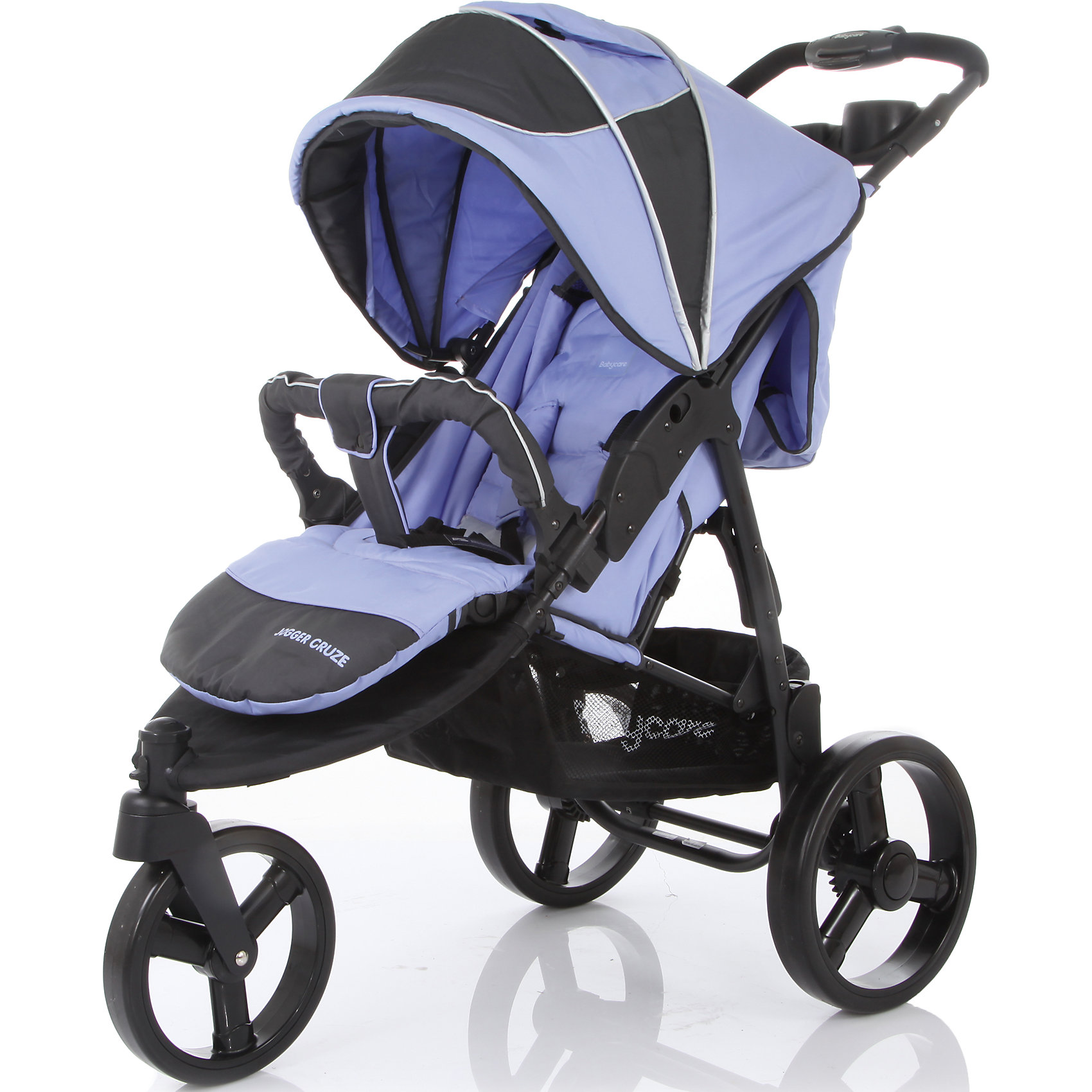 Прогулочная коляска Baby Care Jogger Cruze, фиолетовыйПрогулочные коляски<br>Baby Care Jogger Cruze – трехколесная прогулочная коляска на облегченной алюминиевой раме. Даная модель отлично подойдет для динамичных молодых родителей. Колеса большого диаметра обеспечивают хороший плавный ход, маневренность, высокую проходимость. Переднее колесо - поворотное с функцией фиксации, для более удобного движения по прямой. Модель идеально подходит для любых погодных условий. Материал коляски имеет водоотталкивающую пропитку. Капюшон защищает от снега, воды и солнца, опускается до бампера, в комплект входит утепленная накидка для ног. Для комфортного сна ребенка в любой ситуации и в любом месте, регулируемая спинка может откидываться до почти горизонтального положения. 5-титочечные ремни  и съемный бампер с мягкой накладкой подарят комфорт и безопасность крохе. Для удобства родителей модель оснащена съемным столиком с двумя подстаканниками и большой сетчатой корзиной для покупок. Коляска легко складывается, занимает мало места при хранении и транспортировке, колеса снимаются. <br><br>Дополнительная информация:<br><br>- Механизм складывания: книжка.<br>- Комплектация: поднос для родителей, солнцезащитный козырек, дождевик, накидка на ноги.<br>- Материал: металл, пластик, текстиль, резина.<br>- Размер: 80x53x105 см.<br>- Размер колесной базы: 53 см.<br>- Размер сиденья: 42х40 см.<br>- Длина спального места: 80 см.<br>- Высота ручки от пола: 105 см.<br>- Вес: 9 кг.<br>- Количество колес: 3.<br>- Диаметр колес: переднее -20 см, задние - 27 см.<br>- Цвет: фиолетовый.<br>- Переднее колесо поворотное, с возможностью блокировки.<br>- Система амортизации.<br>- Стояночный тормоз.<br>- 5-ти точечные ремни безопасности.<br>- Съемный бампер.<br>- Регулировка спинки (максимальный наклон 170 градусов).<br>- Солнцезащитный козырек.<br>- Вместительная корзина для покупок.<br>- Столик для мамы с двумя подстаканниками<br><br>Прогулочную коляску Jogger Cruze, Baby Care, фиолетовую, можно купить в