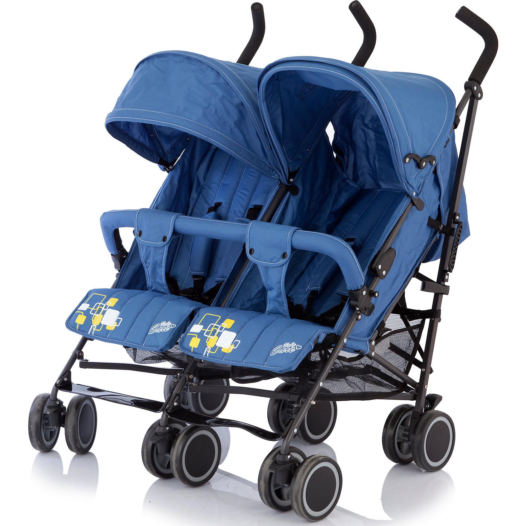 Коляска-трость для двойни Baby Care Citi Twin, синийКоляски-трости<br>Baby Care Citi Twin – сверхлегкая коляска-трость для двойни. Идеальный вариант для путешествий или летних городских прогулок.  Данная модель вобрала в себя весь необходимый функционал трости Baby Care City Style и значительно улучшила его. Рама установлена на шести парах сдвоенных колес, что делает ее максимально маневренной и устойчивой на любой поверхности. Спинки, подножки и глубокие козырьки на обоих сиденьях регулируются независимо друг от друга. Есть возможность получить два почти горизонтальных спальных места (до 170 градусов), для комфортного отдыха малышей. Бампер, как и чехол на ножки – один на двоих. Коляска легко и компактно складывается, имеет удобную ручку для переноски, занимает мало места при хранении и транспортировке.<br><br>Дополнительная информация:<br><br>- Для двойни.<br>- Расположение блоков: рядом.<br>- Механизм складывания: трость.<br>- Комплектация: коляска, чехол на ножки, дождевик.<br>- Материал: металл, пластик, текстиль, резина.<br>- Размер колесной базы: 85 см.<br>- Длина колесной базы: 53 см<br>- Ширина сидений: 34х19 см.<br>- Размер спального места: 78х34 см.<br>- Вес: 14 кг<br>- Количество колес: 6 (сдвоенные).<br>- Диаметр колес: 15 см.<br>- Цвет: синий.<br>- Передние колеса поворотные, с возможностью блокировки.<br>- Стояночный тормоз.<br>- 5-ти точечные ремни безопасности.<br>- Съемный бампер.<br>- Регулировка спинки в 3 положениях. <br>- Регулируются независимо друг от друга: спинка, подножка, козырек.<br>- Один на двоих: бампер, чехол на ножки.<br>- Регулируемые подножки.<br>- Солнцезащитный козырек.<br>- Вместительная корзина для покупок.<br><br>Коляску-трость для двойни Citi Twin, Baby Care, синюю, можно купить в нашем магазине.<br><br>Ширина мм: 1060<br>Глубина мм: 390<br>Высота мм: 220<br>Вес г: 16000<br>Возраст от месяцев: 6<br>Возраст до месяцев: 36<br>Пол: Унисекс<br>Возраст: Детский<br>SKU: 3995830