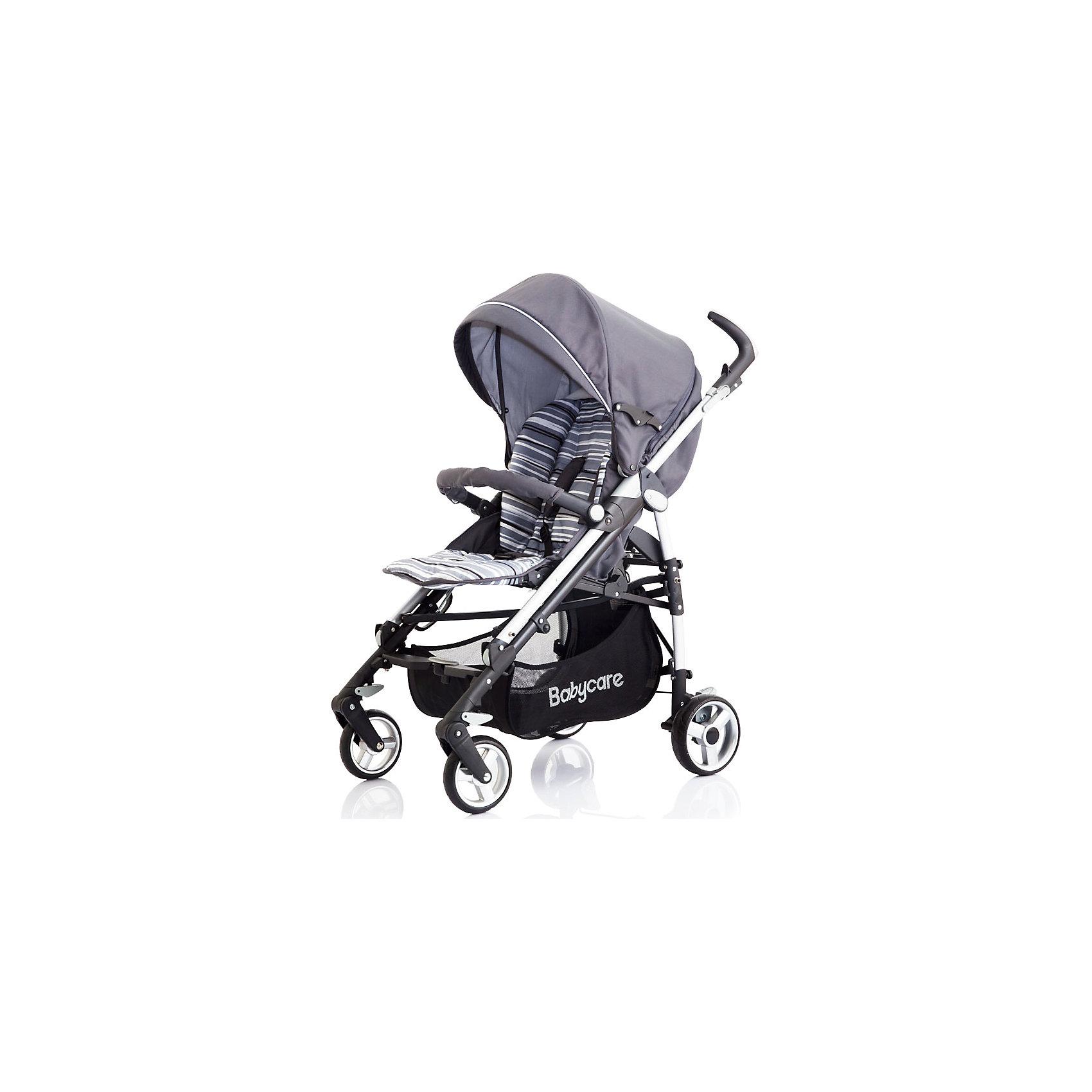 Коляска-трость GT4, Baby Care, серыйХарактеристики коляски-трости Baby Care GT4:<br><br>• спинка коляски регулируется в 3-х положениях, угол наклона почти 170 градусов;<br>• подножка регулируется в 2-х положениях, удлиняет спальное место;<br>• 5-ти точечные ремни безопасности;<br>• глубокий капюшон с дополнительной секцией опускается до бампера;<br>• капюшон оснащен солнцезащитным козырьком со светоотражающей накладкой;<br>• на задней стороне капюшона есть кармашек для мелочей;<br>• съемный бампер с мягкой накладкой;<br>• корзина для покупок;<br>• материал: пластик, полиэстер;<br>• размер коляски в разложенном виде: 103х51х87 см;<br>• размер коляски в сложенном виде: 99х31х29 см;<br>• вес коляски: 10,1 кг;<br>• допустимый вес ребенка: до 15 кг.<br><br>Характеристики шасси коляски:<br><br>• механизм складывания: трость;<br>• защита от случайного раскладывания коляски;<br>• одинарные колеса с пружинными подвесками;<br>• передние поворотные с блокировкой;<br>• на задних колесах реечный тормоз;<br>• материал рамы: алюминий;<br>• материал колес: пеноплен (вспененная резина);<br>• диаметр колес: 16 см, 18 см;<br>• ширина колесной базы: 51 см.<br><br>Компактная коляска-трость GT4 предназначена для детей в возрасте от 7 месяцев до 4-х лет. Спинка коляски и подножка регулируются, ребенок может спокойно спать в прогулочном блоке при горизонтально разложенной спинке и подножке коляски. Утепленный чехол на ножки защищает малыша от ветра и непогоды, а глубокий капюшон с дополнительной секцией, раскладывающийся до бампера, скроет кроху от нежелательных глаз, защитит от ветра и солнечных лучей, поможет обустроить уютное гнездышко для сна. <br><br>Комплектация:<br><br>• коляска-трость GT4;<br>• дождевик;<br>• чехол на ножки;<br>• инструкция. <br><br>Коляску-трость GT4 Baby Care, серую можно купить в нашем интернет-магазине.<br><br>Ширина мм: 1040<br>Глубина мм: 350<br>Высота мм: 350<br>Вес г: 12000<br>Возраст от месяцев: 6<br>Возраст до месяцев: 36<br>Пол: Унисекс<br>Возраст: Детск