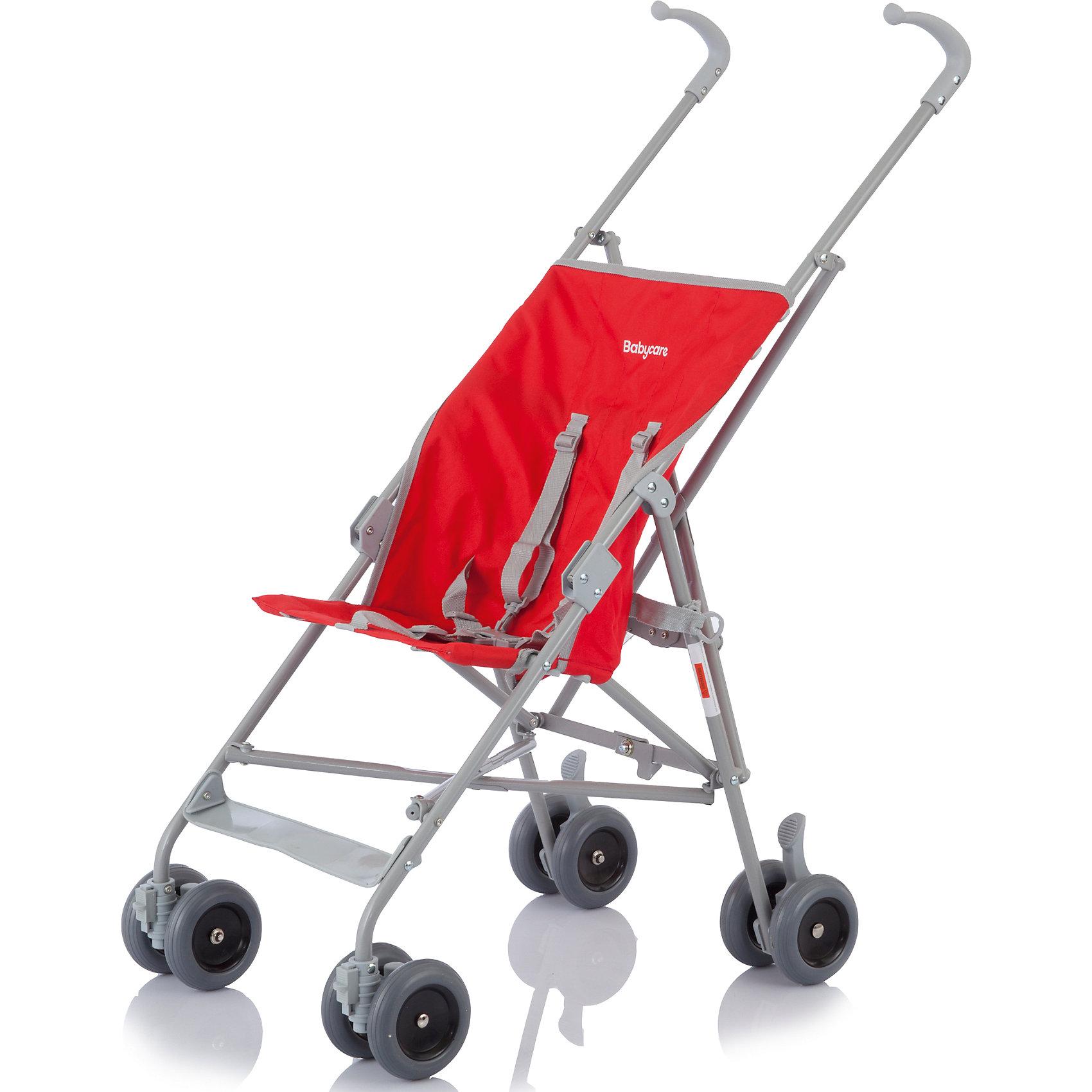 Коляска-трость Buggy B01, Baby Care, красныйBaby Care Buggy B01 – легкая компактная коляска идеально подходящая для прогулок, походов по магазинам, активного отдыха и путешествий. Сдвоенные колеса из пеноплена (искусственно вспененная резина) обеспечивают  плавный ход и превосходную маневренность. Передние поворотные колеса, при необходимости, можно зафиксировать. Небольшая ширина колесной базы позволяет коляске с легкостью проходить во все дверные проемы и лифты. Модель имеет 5 - титочечные ремни для комфорта и безопасности вашего малыша. Коляска очень компактно складывается, удобна в транспортировке и хранении. <br><br>Дополнительная информация:<br><br>- Механизм складывания: трость.<br>- Материал: металл, пластик, текстиль, резина.<br>- Размер: 44х85х85 см.<br>- Размер колесной базы: 40 см.<br>- Ширина сиденья: 29 см.<br>- Вес: 3,8 кг.<br>- Количество колес: 4 (сдвоенные).<br>- Диаметр колес: 10 см.<br>- Цвет: красный.<br>- Передние колеса поворотные, с возможностью блокировки.<br>- Стояночный тормоз.<br>- 5-ти точечные ремни безопасности.<br><br>Коляска-трость Buggy B01, Baby Care, красную, можно купить в нашем магазине.<br><br>Ширина мм: 1150<br>Глубина мм: 370<br>Высота мм: 400<br>Вес г: 3100<br>Цвет: красный<br>Возраст от месяцев: 6<br>Возраст до месяцев: 36<br>Пол: Унисекс<br>Возраст: Детский<br>SKU: 3995868