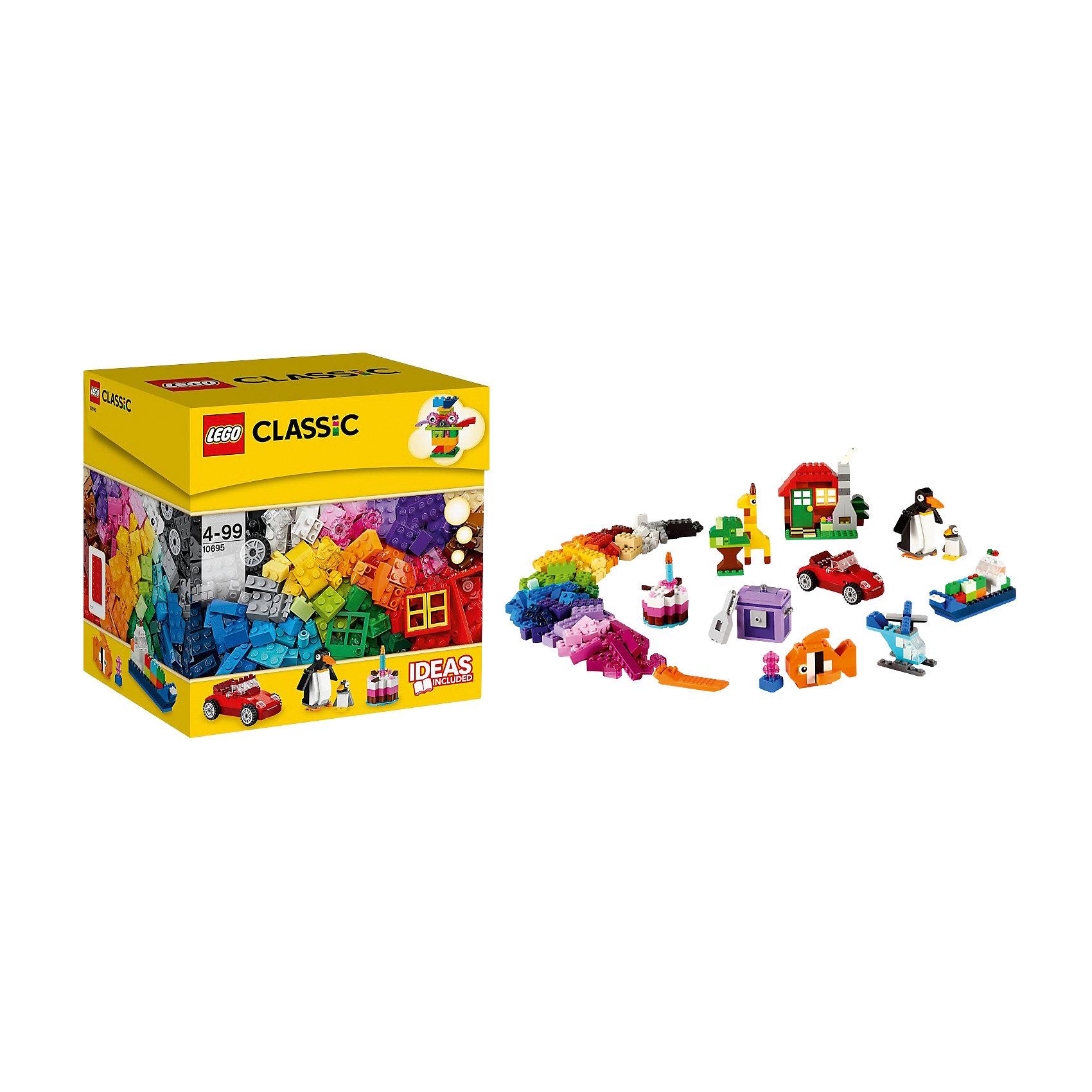 LEGO 10695: Набор для веселого конструированияПингвин, жираф, автомобиль сова и даже вертолет! Все это и многое другое ты сможешь сделать вместе с этим набором. Кубики ярких цветов и причудливые элементы позволят собрать все, что придет вам в голову! Не знаете с чего начать? Воспользуйтесь инструкцией с идеями и рекомендациями дизайнеров. Этот набор идеально дополнит либо уже имеющийся набор LEGO.<br><br>Наборы для творчества LEGO (ЛЕГО)  идеальны для начинающих строителей всех возрастов. Они также дополнят любую имеющуюся коллекцию LEGO. Набор упакован в удобную пластиковую коробку. <br><br>Дополнительная информация:<br><br>- Конструкторы ЛЕГО развивают усидчивость, внимание, фантазию и мелкую моторику. <br>- Комплектация: колеса, пропеллеры, стандартные кубики, кубики с рисунками, двери, окна, колеса.<br>- Количество деталей: 580 шт.<br>- Серия ЛЕГО (LEGO) Наборы для творчества.<br>- Материал: пластик.<br>- Размер упаковки: 23х22,5х19 см.<br>- Вес: 1,064 кг<br><br>LEGO 10695: Набор для веселого конструирования можно купить в нашем магазине.<br><br>Ширина мм: 240<br>Глубина мм: 231<br>Высота мм: 195<br>Вес г: 907<br>Возраст от месяцев: 48<br>Возраст до месяцев: 144<br>Пол: Унисекс<br>Возраст: Детский<br>SKU: 3996083