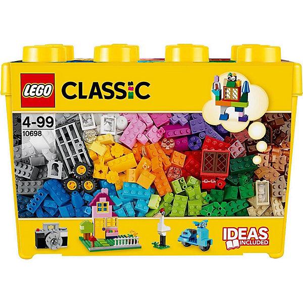 LEGO 10698: Набор для творчества большого размераПластмассовые конструкторы<br>Все: от фотоаппарата, до целого дома или квартала, не говоря уже о маленьких зверушках -  можно собрать с этим чудесным набором! Кубики ярких цветов и причудливые элементы позволят собрать все, что придет вам в голову! Не знаете с чего начать? Воспользуйтесь инструкцией с идеями и рекомендациями дизайнеров. Этот набор идеально дополнит либо уже имеющийся набор LEGO.<br><br>Наборы для творчества LEGO (ЛЕГО)  идеальны для начинающих строителей всех возрастов. Они также дополнят любую имеющуюся коллекцию LEGO. Набор упакован в удобную пластиковую коробку. <br><br>Дополнительная информация:<br><br>- Конструкторы ЛЕГО развивают усидчивость, внимание, фантазию и мелкую моторику. <br>- Комплектация: колеса, пропеллеры, стандартные кубики, кубики с рисунками, двери, окна, колеса.<br>- 2 демонстрационные пластины: 16х16 см; 12х6 см. <br>- Количество деталей: 790 шт.<br>- Серия ЛЕГО (LEGO) Наборы для творчества.<br>- Материал: пластик.<br>- Размер упаковки: 37х26,5х18 см.<br>- Вес: 1,882 кг.<br><br>LEGO 10698: Набор для творчества большого размера можно купить в нашем магазине.<br><br>Ширина мм: 365<br>Глубина мм: 185<br>Высота мм: 261<br>Вес г: 1592<br>Возраст от месяцев: 48<br>Возраст до месяцев: 144<br>Пол: Унисекс<br>Возраст: Детский<br>SKU: 3996084