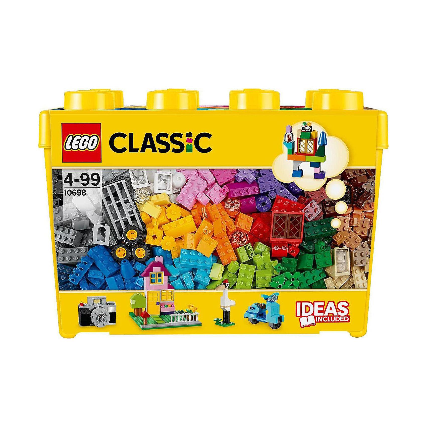 LEGO 10698: Набор для творчества большого размераПластмассовые конструкторы<br>Все: от фотоаппарата, до целого дома или квартала, не говоря уже о маленьких зверушках -  можно собрать с этим чудесным набором! Кубики ярких цветов и причудливые элементы позволят собрать все, что придет вам в голову! Не знаете с чего начать? Воспользуйтесь инструкцией с идеями и рекомендациями дизайнеров. Этот набор идеально дополнит либо уже имеющийся набор LEGO.<br><br>Наборы для творчества LEGO (ЛЕГО)  идеальны для начинающих строителей всех возрастов. Они также дополнят любую имеющуюся коллекцию LEGO. Набор упакован в удобную пластиковую коробку. <br><br>Дополнительная информация:<br><br>- Конструкторы ЛЕГО развивают усидчивость, внимание, фантазию и мелкую моторику. <br>- Комплектация: колеса, пропеллеры, стандартные кубики, кубики с рисунками, двери, окна, колеса.<br>- 2 демонстрационные пластины: 16х16 см; 12х6 см. <br>- Количество деталей: 790 шт.<br>- Серия ЛЕГО (LEGO) Наборы для творчества.<br>- Материал: пластик.<br>- Размер упаковки: 37х26,5х18 см.<br>- Вес: 1,882 кг.<br><br>LEGO 10698: Набор для творчества большого размера можно купить в нашем магазине.<br><br>Ширина мм: 366<br>Глубина мм: 182<br>Высота мм: 261<br>Вес г: 1571<br>Возраст от месяцев: 48<br>Возраст до месяцев: 144<br>Пол: Унисекс<br>Возраст: Детский<br>SKU: 3996084