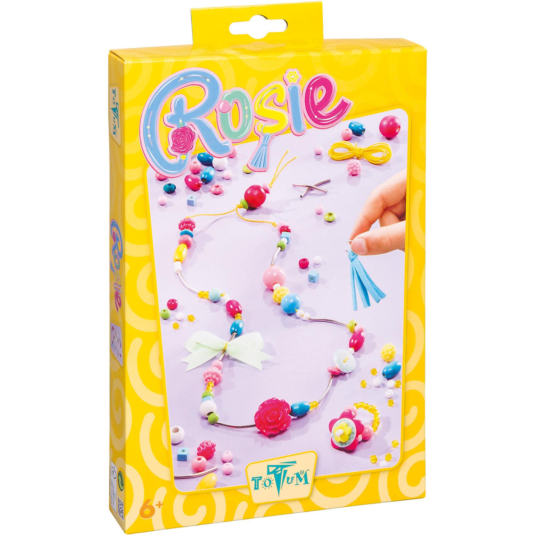 Набор для творчества ROSIEНабор для творчества ROSIE, Totum (Тотум)<br><br>Характеристики:<br><br>• восхитительные украшения своими руками<br>• оригинальные бусины <br>• в комплекте: декоративная кисточка, металлические бусины, пластиковые бусины, бусина в виде розы, бусины в виде ягод, стеклянные бусины, деревянные бусины, эластичная нить, лента, иголка, инструкция<br>• размер упаковки: 27х18х4 см<br>• вес: 257 грамм<br><br>Набор для творчества ROSIE предназначен для создания милых украшений с помощью плетения. Девочка сможет создать браслетик и колечко. В комплект входят различные бусины: деревянные, стеклянные, пластиковые, в виде ягод, в виде розы и многие другие. Подробная инструкция поможет девочке разобраться в процессе. Создавая украшения, ребенок развивает мелкую моторику, усидчивость и внимательность. А сами украшения будут отличным поводом для гордости!<br><br>Набор для творчества ROSIE, Totum (Тотум) можно купить в нашем интернет-магазине.<br><br>Ширина мм: 285<br>Глубина мм: 182<br>Высота мм: 41<br>Вес г: 148<br>Возраст от месяцев: 60<br>Возраст до месяцев: 120<br>Пол: Женский<br>Возраст: Детский<br>SKU: 3996484