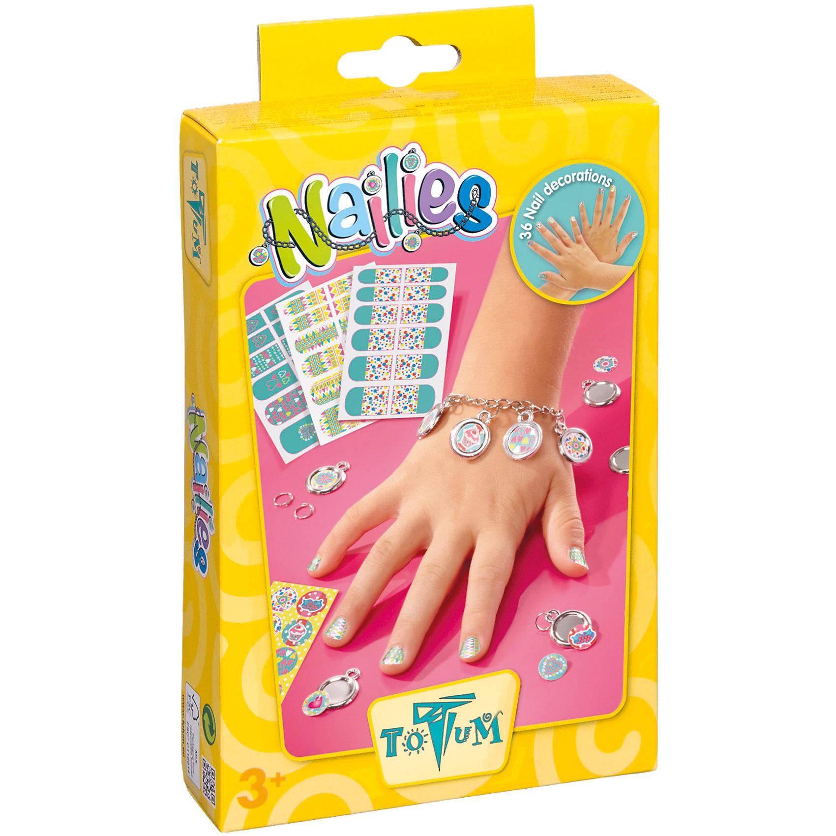 Набор для творчества NAILIESНабор для творчества NAILIES, Totum (Тотум)<br><br>Характеристики:<br><br>• восхитительные украшения для рук<br>• оригинальные амулеты<br>• в комплекте: набор наклеек, 3 листа наклеек для ногтей, металлические браслеты-цепочки, 5 металлических колец, 5 кулонов, инструкция<br>• размер упаковки: 13х20х3 см<br><br>Набор для творчества NAILIES предназначен для создания милых украшений своими руками. В процессе творчества девочка сможет изготовить для себя браслетик с пятью амулетами. Кроме того, в набор входят наклейки для ногтей, которых хватает на несколько применений! Подробная инструкция поможет девочке разобраться в процессе. Создавая украшения, ребенок развивает мелкую моторику, усидчивость и внимательность. А сами украшения будут отличным поводом для гордости!<br><br>Набор для творчества NAILIES, Totum (Тотум) можно купить в нашем интернет-магазине.<br><br>Ширина мм: 202<br>Глубина мм: 131<br>Высота мм: 40<br>Вес г: 80<br>Возраст от месяцев: 60<br>Возраст до месяцев: 120<br>Пол: Женский<br>Возраст: Детский<br>SKU: 3996488