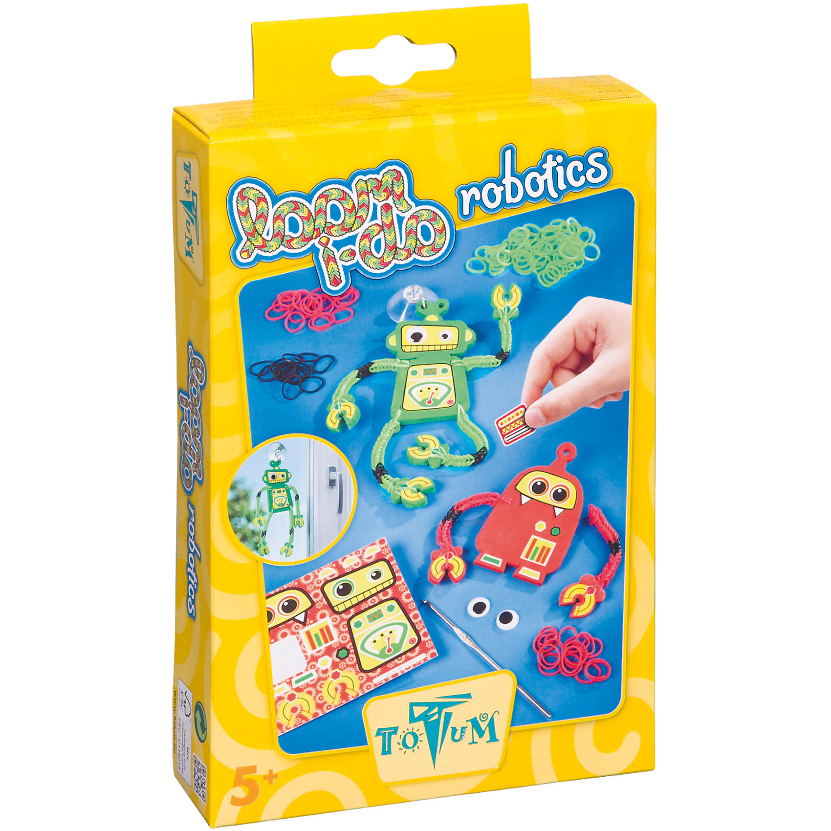 Набор для творчества Роботы из резиночекРукоделие<br>Набор для изготовления роботов заинтересует как мальчиков, так и девочек. Создавай оригинальных роботов из резинок, меняйся ими с друзьями. Процесс плетения из резинок - увлекательное и полезное занятие, развивающее мелкую моторику, воображение, внимание и умение работать по инструкции. <br><br>Дополнительная информация:<br><br>- Комплектация: 166 различных резинок (3 цвета), 2 присоски, 1 крючок, мягкие детали для роботов (красные и зелёные), 1 листок с наклейками, 4 самоклеящихся детали для глаз, инструкция. Набор для мальчиков и девочек.<br>-  Материал: пластик, бумага, резина.<br><br>Набор для творчества Роботы из резиночек можно купить в нашем магазине.<br><br>Ширина мм: 209<br>Глубина мм: 126<br>Высота мм: 39<br>Вес г: 102<br>Возраст от месяцев: 72<br>Возраст до месяцев: 144<br>Пол: Мужской<br>Возраст: Детский<br>SKU: 3996491