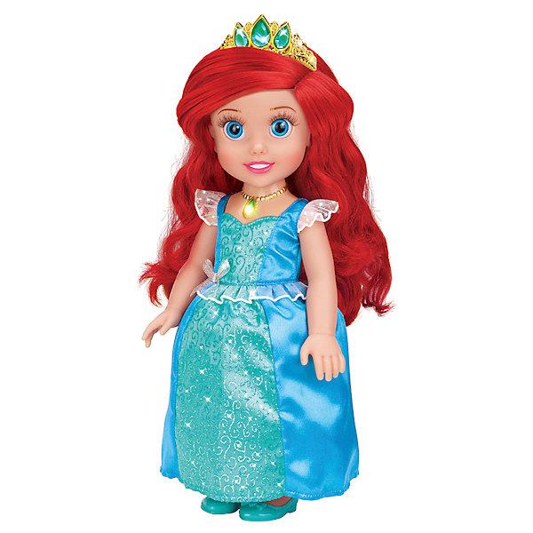 Кукла Ариэль со светящимся амулетом, 37 см, со звуком, Принцессы Дисней, КарапузИгрушки<br>Все малышки обожают диснеевские сказки про принцесс! Но до того, как русалочка стала взрослой, она была очаровательной малышкой, такой как куколка Ариэль из серии Disney Princess (Принцессы Диснея), Карапуз. Малышка Ариэль совершенно очаровательное создание: у нее выразительные глазки, длинные ресницы и целая копна шелковистых рыжих волос.  Девочка будет с восхищением расчесывать свою маленькую принцессу, переодевать и слушать замечательную песенку.  Как у любой принцессы у куколки есть драгоценная тиара и волшебный светящийся амулет. Прекрасное платьице малышки можно снимать и придумывать ей другие наряды, еще Ариэль умеет говорить! <br><br>Дополнительная информация:<br><br>- Комплект: кукла, амулет, диадема, туфельки;<br>- Куколка говорит фразу и поет песенку;<br>- Куколка создана по мотивам мультфильмов Disney (Дисней);<br>- Работает от  батареек: 3 х AG3 / LR41 (таблетки);<br>- Материал: пластик, текстиль;<br>- Прекрасная детализация;<br>- Ручки и ножки подвижны;<br>- Высота куколки: 37 см;<br>- Вес: 920 г<br><br>Куклу Ариэль со светящимся амулетом, 37 см, со звуком,  Disney Princess (Принцессы Диснея), Карапуз можно купить в нашем интернет-магазине.<br>Ширина мм: 220; Глубина мм: 400; Высота мм: 130; Вес г: 920; Возраст от месяцев: 36; Возраст до месяцев: 84; Пол: Женский; Возраст: Детский; SKU: 3996822;