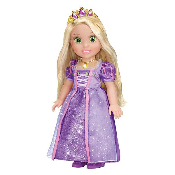 Кукла Рапунцель со светящимся амулетом, 37 см, со звуком, Принцессы Дисней, КарапузИгрушки<br>Все малышки обожают диснеевские сказки про принцесс! Но до того, как Рапунцель стала взрослой, она была очаровательной малышкой, такой как куколка Рапунцель из серии Disney Princess (Принцессы Диснея), Карапуз. Малышка Рапунцель совершенно очаровательное создание: у нее выразительные глазки, длинные ресницы и целая копна шелковистых золотых  волос.  Девочка будет с восхищением расчесывать свою маленькую принцессу, переодевать и слушать замечательную песенку.  Как у любой принцессы у куколки есть драгоценная тиара и волшебный светящийся амулет. Прекрасное платьице малышки можно снимать и придумывать ей другие наряды, еще Рапунцель умеет говорить! <br><br>Дополнительная информация:<br><br>- Комплект: кукла, амулет, диадема, туфельки;<br>- Куколка говорит фразу и поет песенку;<br>- Куколка создана по мотивам мультфильмов Disney (Дисней);<br>- Работает от  батареек: 3 х AG3 / LR41 (таблетки);<br>- Материал: пластик, текстиль;<br>- Прекрасная детализация;<br>- Ручки и ножки подвижны;<br>- Высота куколки: 37 см;<br>- Вес: 920 г<br><br>Куклу Рапунцель со светящимся амулетом, 37 см, со звуком,  Disney Princess (Принцессы Диснея), Карапуз можно купить в нашем интернет-магазине.<br>Ширина мм: 220; Глубина мм: 400; Высота мм: 130; Вес г: 920; Возраст от месяцев: 36; Возраст до месяцев: 84; Пол: Женский; Возраст: Детский; SKU: 3996824;