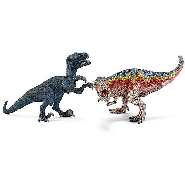 Т-рекс и Велоцераптор, малыеМир животных<br>Характеристики:<br><br>• возраст: от 3 лет;<br>• материал: каучуковый пластик;<br>• в наборе: тиранозавр Рекс, велоцераптор;<br>• размер фигурки: 6,5х11,5 см;<br>• вес упаковки: 300 гр.;<br>• размер упаковки: 19х17х16,5 см;<br>• подарочная упаковка;<br>• страна бренда: Германия.<br><br>Фигурки от бренда Schleich – детализированные копии вымерших динозавров. Фигурки с точностью передают особенности строения тела животных, внешний вид кожи, характерные позы.<br><br>В изготовлении каждой фигурки «Шляйх» учитываются рекомендации педагогики для того, чтобы игрушка была интересна и полезна ребенку, комфортно располагалась в руках. Фигурки раскрашены вручную, сделаны из прочных безопасных материалов, не вызывающих аллергию. Разработано при участии музея зоологии.<br><br>Фигурки подойдут для сюжетно-ролевых игр, а также могут стать частью большой коллекции реалистичных копий животных Schleich.<br><br>Набор Schleich Т-рекс и Велоцераптор, малые можно купить в нашем интернет-магазине.<br>Ширина мм: 196; Глубина мм: 169; Высота мм: 173; Вес г: 304; Возраст от месяцев: 36; Возраст до месяцев: 96; Пол: Мужской; Возраст: Детский; SKU: 3998143;