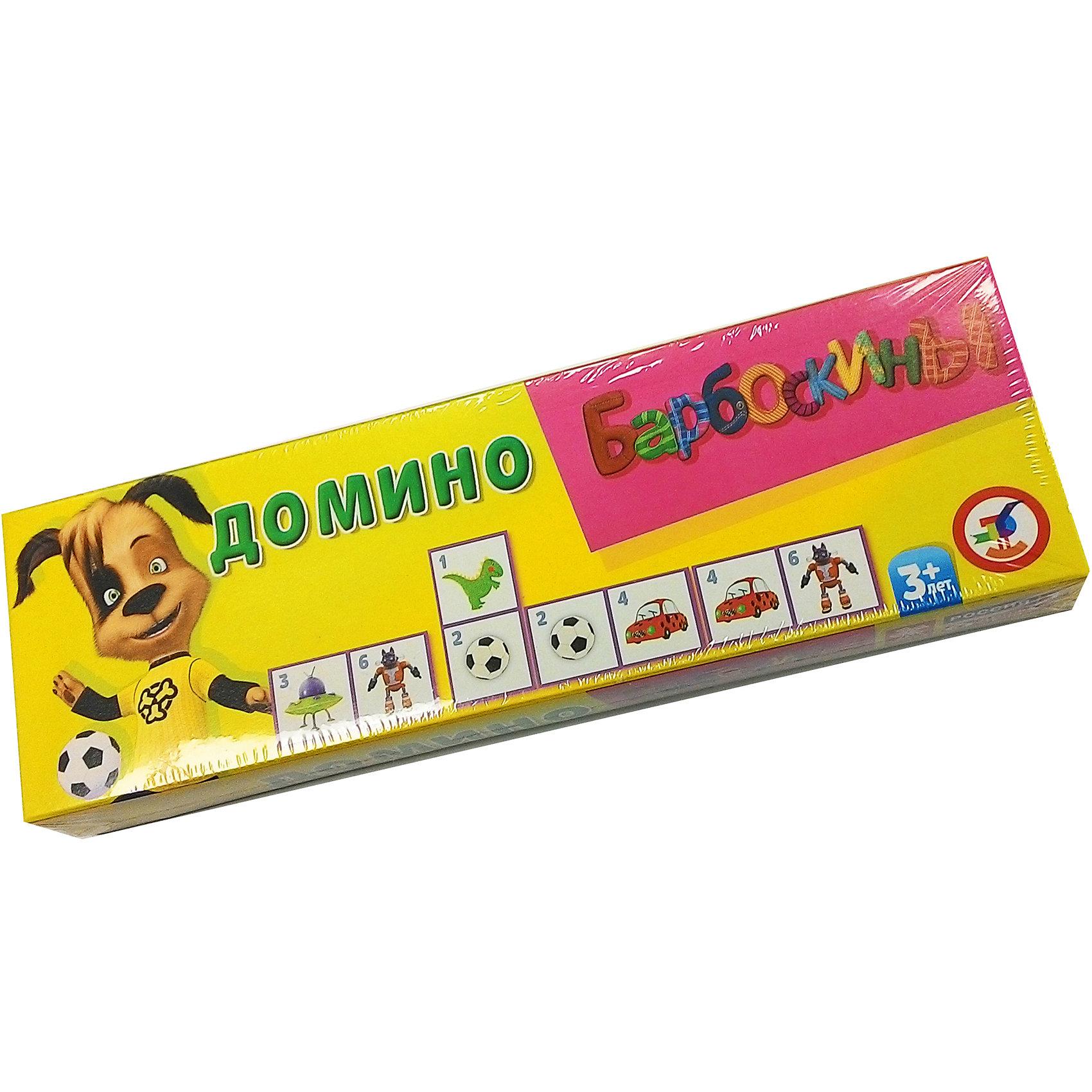 Домино большое пластиковое, БарбоскиныДомино<br>Домино большое пластиковое, Барбоскины - классическая, всем известная игра с любимыми героями, в которую можно играть всей семьей. Барбоскины - это большое семейство собак из популярного мультсериала Барбоскины, где у каждого персонажа свой характер и особенности. На карточках домино для малышей вместо традиционных точек изображены красочные рисунки с любимые игрушками персонажей мультфильма. Игра развивает логику, внимание, память, умение сравнивать и сопоставлять предметы. <br><br>Дополнительная информация:<br><br>- В комплекте: 28 карточек.<br>- Серия: Барбоскины.<br>- Материал: пластик.<br>- Размер упаковки: 8 x 25,5 x 3,1 см.<br>- Вес: 0,216 кг.<br><br>Домино большое пластиковое, Барбоскины, можно купить в нашем интернет-магазине.<br><br>Ширина мм: 80<br>Глубина мм: 31<br>Высота мм: 255<br>Вес г: 80<br>Возраст от месяцев: 36<br>Возраст до месяцев: 144<br>Пол: Унисекс<br>Возраст: Детский<br>SKU: 3998681