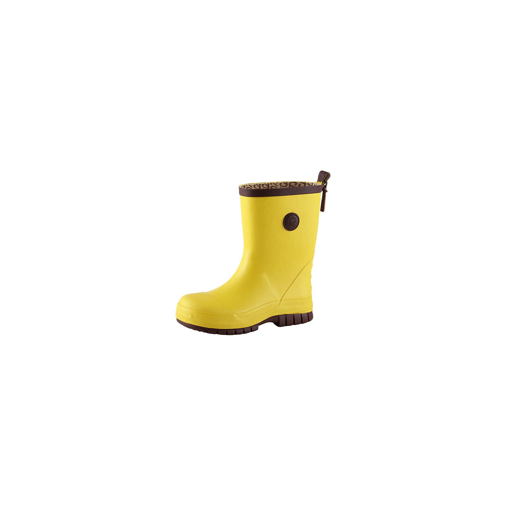Резиновые сапоги для девочки ReimaРезиновые сапоги для девочки от финской марки Reima.<br><br>-Резиновые ботинки в стиле Reima® ORIGINAL для детей с хлопчатобумажной подкладкой<br>- Съемная стелька с принтом Happy fit поможет подобрать точный размер<br>-Светоотражающая деталь на заднике<br><br>Состав:Подошва: резина, Верх: резина<br><br>Ширина мм: 237<br>Глубина мм: 180<br>Высота мм: 152<br>Вес г: 438<br>Цвет: желтый<br>Возраст от месяцев: 108<br>Возраст до месяцев: 120<br>Пол: Женский<br>Возраст: Детский<br>Размер: 33,30,31,34,35,32,27,29,36,25,38,26,28,37<br>SKU: 3998925