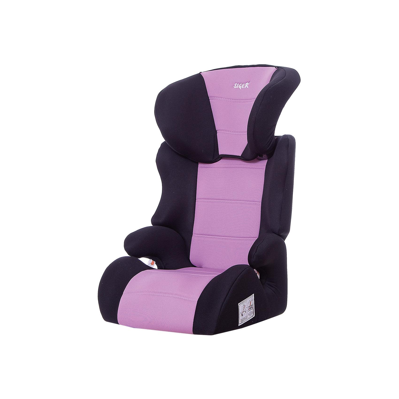 Автокресло Смарт, 15-36 кг., Siger, фиолетовыйАвтокресло Смарт - прекрасное кресло для уже подросших малышей! Ортопедическая спинка и уникальная форма подголовника защитят ребенка от боковых ударов. Спинка регулируется в 3 положениях, что позволяет креслу адаптироваться под наклон сидений автомобиля. Подголовник регулируется в 6 положениях, подстраиваясь под рост ребенка. Округлая форма сиденья предохраняет ножки малышей от затекания и натирания в процессе езды. Когда ваш ребенок подрастет, вы легко сможете трансформировать автокресло в удобный бустер. Модель изготовлена из высококачественных прочных материалов, имеет износостойкий внешний  чехол, который легко снимается для стирки. <br><br>Дополнительная информация:<br><br>- Материал: пластик, текстиль.<br>- Вес ребенка: 15-36 кг. ( 3-12 лет).<br>- Группа 2-3.<br>- Ширина посадочного места: 31 см.<br>- Глубина посадочного места: 33 см.<br>- Высота посадочного места: 10 см.<br>- Высота кресла: 70см.<br>- Ширина кресла: 45см <br>- Вес кресла: 4,7 кг.<br>- Регулировка спинки: в 3-х положениях.<br>- Регулировка подголовника: в 6-ти положениях.<br>- Ортопедическая спинка.<br>- Трансформируется в бустер.<br>- Цвет: фиолетовый. <br>- Стирка: ручная, машинная ( при 30 ? ).<br>- Способ установки: лицом вперед.<br><br>Автокресло Смарт, 15-36 кг., Siger (Сигер), фиолетовое, можно купить в нашем магазине.<br><br>Ширина мм: 515<br>Глубина мм: 450<br>Высота мм: 700<br>Вес г: 4700<br>Возраст от месяцев: 36<br>Возраст до месяцев: 144<br>Пол: Унисекс<br>Возраст: Детский<br>SKU: 3999716