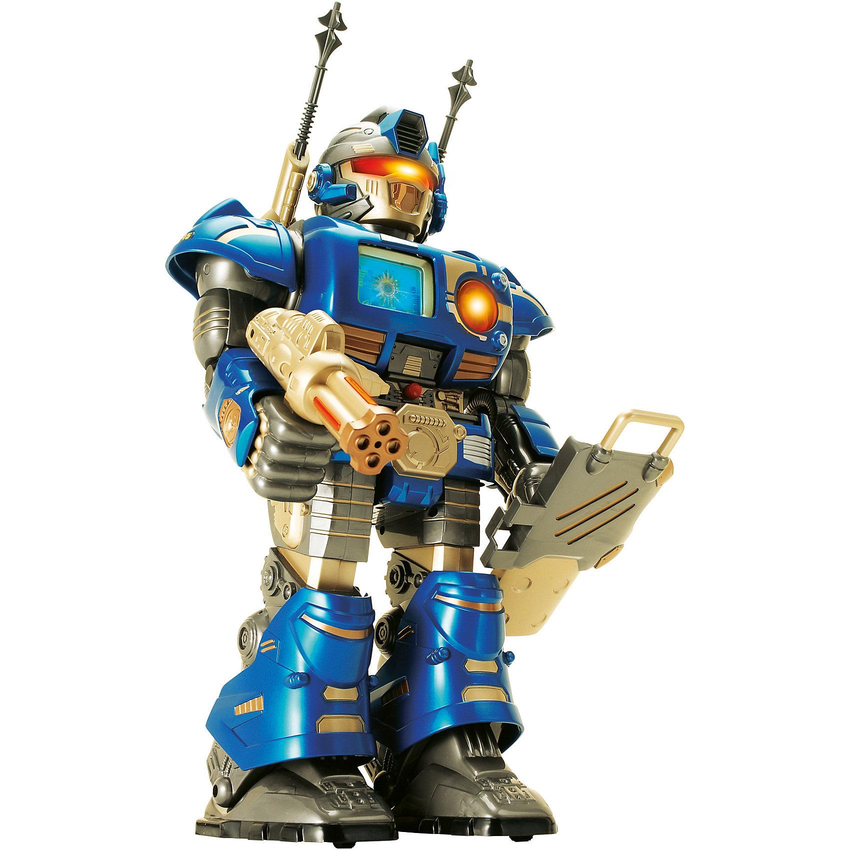 Робот-сержант синий, на и/к управлении, 38 см, HAP-P-KIDРобот-сержант на и/к управлении от HAP-P-KID классный подарок любителю робототехники! Большой, классный Робот восхитит Вашего мальчика, ведь он оснащен по последнему слову техники. Благодаря удобному и понятному пульту управления Робот-сержант будет выполнять любые команды: двигаться, поднимать оружие, поворачивать голову. Все движения Робота сопровождаются классными звуковыми и световыми эффектами, поэтому играть с ним очень увлекательно. Робот-сержант - настоящий боевой робот: у него несколько видов вооружения и прочные съемные доспехи. <br>Главная особенность Робота-сержанта настоящий анимационный экран на груди! Устраивать битвы с таким бойцом одно удовольствие! Собирайтесь с друзьями и решайте чей робот самый сильный! <br>Игры с роботами развивают у мальчишек сообразительность и логическое мышление.<br><br>Дополнительная информация: <br><br>- В наборе:  робот (без ракет на плечах), пульт дистанционного управления, доспехи, оружие;<br>- Робот движется вперед, поднимает руки, поворачивает голову;<br>- Анимационный экран;<br>- Световые и звуковые эффекты;<br>- Работает от батареек: 3 батарейки типа ААА - для пульта, 4 батарейки типа АА - для робота;<br>- Прекрасный подарок мальчишке;<br>- Цвет: синий;<br>- Высота игрушки: 38 см;<br>- Размер упаковки: 33 х 13,3 х 40,6;<br>- Вес: 1,8 кг<br><br>Робота-сержанта синего, на и/к управлении, 38 см, HAP-P-KID можно купить в нашем интернет-магазине<br><br>Ширина мм: 330<br>Глубина мм: 133<br>Высота мм: 406<br>Вес г: 1880<br>Возраст от месяцев: 36<br>Возраст до месяцев: 84<br>Пол: Мужской<br>Возраст: Детский<br>SKU: 4001659