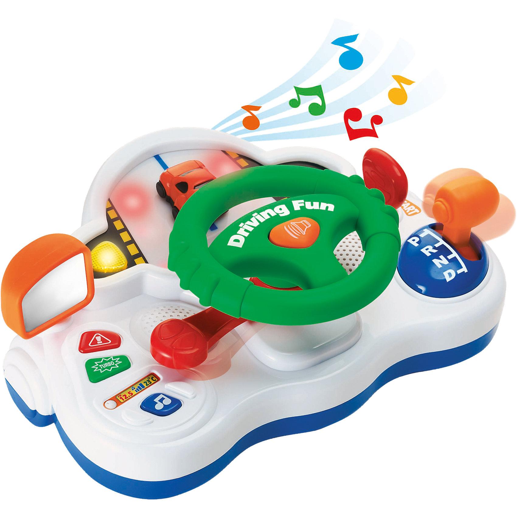 Игрушка Занимательное вождение, KeenwayРазвивающие игрушки<br>Фирма Keenway (Кинвэй) - известный производитель потрясающих наборов для сюжетно-ролевых игр. Помогите малышу стать заправским водителем уже в год - купите ему игрушку Занимательное вождение. В этой забавной на вид игрушки все сделано, как в настоящем автомобиле. Малыш сможет сам завести машину ключом, включить поворотники, а самое главное покрутить рулем и побибикать! Несмотря на наличие множества функций игрушка безопасна даже для совсем маленьких автолюбителей. Игрушка дополнена боковым зеркалом, а перед глазами малыша есть маленькая машинка. Благодаря чудесным звуковым и световым эффектам играть в водителя будет еще веселее! Играя с набором малыш развивает моторику рук, сообразительность и координацию.<br><br>Дополнительная информация: <br><br>- Набор безопасен даже для маленьких детей;<br>- Развивает фантазию и мышление;<br>- Прекрасные звуковые и световые эффекты;<br>- Множество кнопочек и рычажков;<br>- Руль крутится;<br>- Автоматическая коробка передач;<br>- Потрясающий подарок;<br>- Тип батареек: 3 x AA / LR6 1.5V (в комплекте);<br>- Размер упаковки: 25,4 х 31,8 х 15,2 см;<br>- Вес: 1 кг<br><br>Игрушку Занимательное вождение, Keenway (Кинвэй) можно купить в нашем интернет-магазине<br><br>Ширина мм: 254<br>Глубина мм: 318<br>Высота мм: 152<br>Вес г: 1000<br>Возраст от месяцев: 36<br>Возраст до месяцев: 60<br>Пол: Мужской<br>Возраст: Детский<br>SKU: 4001672