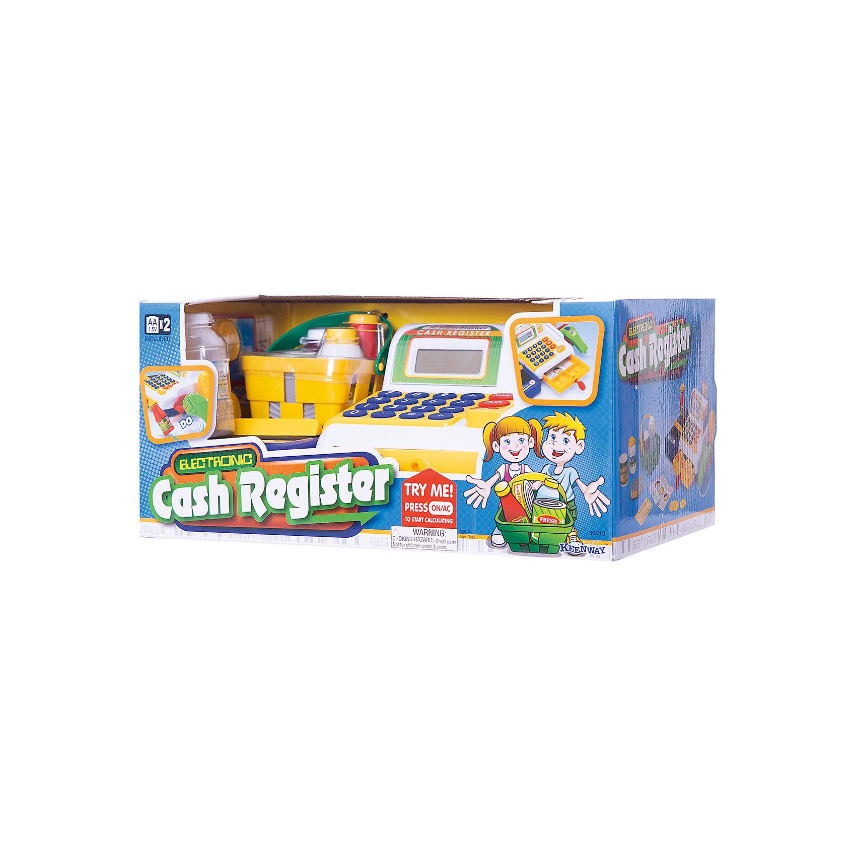 Кассовый аппарат, KeenwayДетские магазины и аксесссуары<br>Фирма Keenway (Кинвэй) - известный производитель потрясающих наборов для сюжетно-ролевых игр. Малыши обожают ходить в магазин, с Кассовым аппаратом от Keenway (Кинвэй) можно создать целый супермаркет у себя дома. Главной особенностью игрушки является то, что помимо кассового аппарата в наборе есть множество интересных аксессуаров: продукты, корзинка, деньги и даже лента для продуктов, которую можно вращать вручную. Кассовый аппарат снабжен экраном с функцией калькулятора: обучайте малыша счету играючи! Благодаря замечательному сканеру со светом и звуком маленький кассир быстро обслужит покупателей. Расплачиваться можно денежками и пластиковой картой, для которой в кассе тоже есть отделение. Собирайте друзей и играйте в супермаркет с помощью замечательного кассового аппарата от Keenway (Кинвэй)!<br><br>Дополнительная информация: <br><br>- В комплекте: кассовый аппарат, муляжи продуктов, корзина для покупок, игрушечные деньги и банковская карта;<br>- Функция калькулятора;<br>- Звуковые эффекты;<br>- Дорожка для кредитки;<br>- Звуковой сканер;<br>- Потрясающий подарок;<br>- Тип батареек: 2 батарейки типа АА (в комплекте);<br>- Размер игрушки: 33 х 13 х 19 см;<br>- Размер упаковки: 21 х 35,6 х 16,5 см;<br>- Вес: 1,1 кг<br><br>Кассовый аппарат, Keenway (Кинвэй) можно купить в нашем интернет-магазине<br><br>Ширина мм: 210<br>Глубина мм: 356<br>Высота мм: 165<br>Вес г: 1140<br>Возраст от месяцев: 36<br>Возраст до месяцев: 84<br>Пол: Женский<br>Возраст: Детский<br>SKU: 4001679