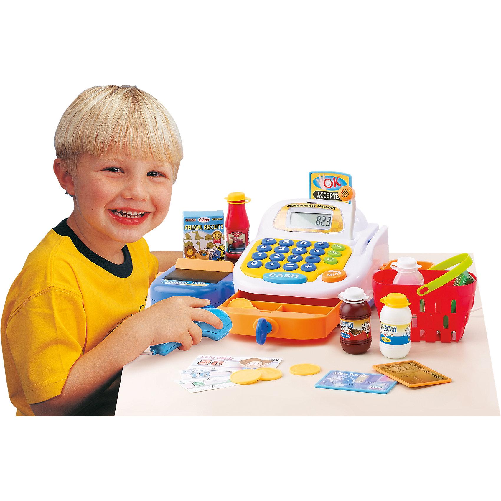 Набор Супермаркет, KeenwayФирма Keenway (Кинвэй) - известный производитель потрясающих наборов для сюжетно-ролевых игр. Малыши обожают ходить в магазин, с набором Супермаркет от Keenway (Кинвэй) можно создать целый магазин у себя дома. Главной особенностью игрушки является то, что помимо кассового аппарата в наборе есть множество интересных аксессуаров: продукты, корзинка, деньги, лента для продуктов и даже микрофон, который значительно усиливает голос. Кассовый аппарат снабжен экраном с функцией калькулятора: обучайте малыша счету играючи! Благодаря замечательному сканеру со светом и звуком маленький кассир быстро обслужит покупателей. Расплачиваться можно денежками и пластиковой картой, для которой в кассе тоже есть отделение. При проведении пластиковой карты раздается сигнал и выдвигается табличка об успешной операции. Денежки можно складывать в выдвигающийся ящичек, который закрывается на ключик. Собирайте друзей и играйте в супермаркет с помощью замечательного набора от Keenway (Кинвэй)!<br><br>Дополнительная информация: <br><br>- В комплекте: кассовый аппарат, муляжи продуктов, корзина для покупок, игрушечные деньги и банковская карта;<br>- Функция калькулятора;<br>- Звуковые эффекты;<br>- Дорожка для кредитки;<br>- Звуковой сканер;<br>- Потрясающий подарок;<br>- Тип батареек: 3 батарейки типа АА (в комплекте);<br>- Размер игрушки: 32 х 12 х 18 см;<br>- Размер упаковки: 21 х 35,6 х 16,5 см;<br>- Вес: 1,1 кг<br><br>Набор Супермаркет, Keenway (Кинвэй) можно купить в нашем интернет-магазине<br><br>Ширина мм: 345<br>Глубина мм: 200<br>Высота мм: 165<br>Вес г: 1200<br>Возраст от месяцев: 36<br>Возраст до месяцев: 84<br>Пол: Женский<br>Возраст: Детский<br>SKU: 4001680