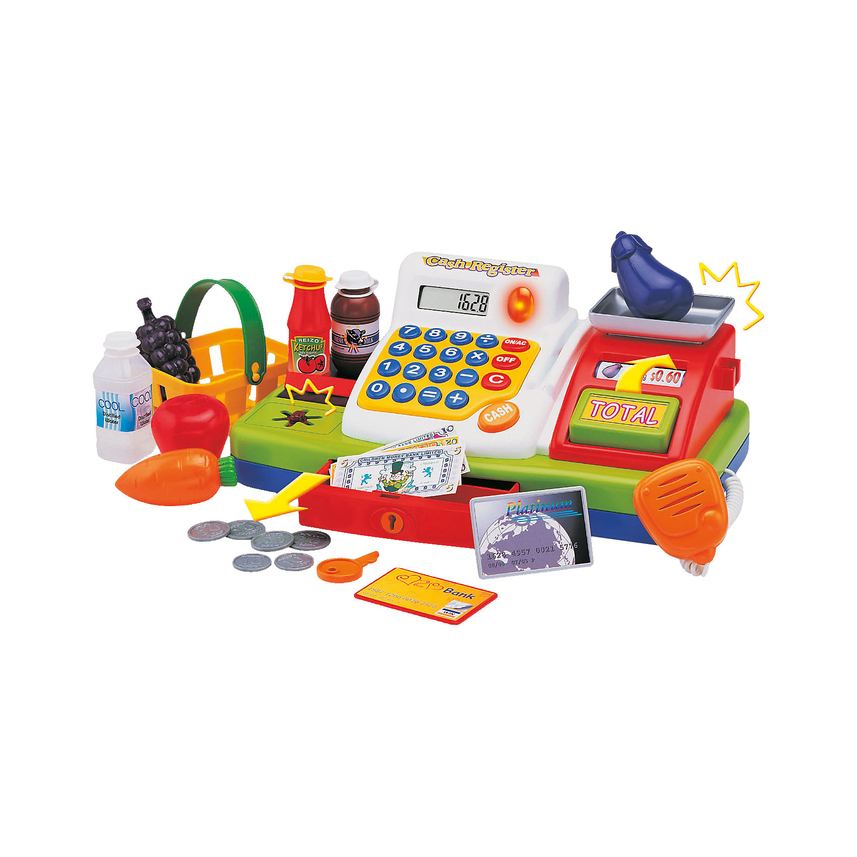 Супермаркет со звуковыми эффектами, KeenwayФирма Keenway (Кинвэй) - известный производитель потрясающих наборов для сюжетно-ролевых игр. Малыши обожают ходить в магазин, с набором Супермаркет от Keenway (Кинвэй) можно создать целый магазин у себя дома. Главной особенностью игрушки является то, что помимо кассового аппарата в наборе есть множество интересных аксессуаров: продукты, корзинка, деньги, лента для продуктов и даже весы для овощей и фруктов. Кассовый аппарат снабжен экраном с функцией калькулятора: обучайте малыша счету играючи! Благодаря замечательному сканеру со светом и звуком маленький кассир быстро обслужит покупателей. Расплачиваться можно денежками и пластиковой картой, для которой в кассе тоже есть отделение.  Денежки можно складывать в выдвигающийся ящичек, который закрывается на ключик. Собирайте друзей и играйте в супермаркет с помощью замечательного набора от Keenway (Кинвэй)!<br><br>Дополнительная информация: <br><br>- В комплекте: кассовый аппарат, весы, муляжи продуктов, корзина для покупок, игрушечные деньги и банковская карта;<br>- Функция калькулятора;<br>- Звуковые эффекты;<br>- Дорожка для кредитки;<br>- Звуковой сканер;<br>- Потрясающий подарок;<br>- Тип батареек: 2 батарейки типа АА (в комплекте);<br>- Размер упаковки: 20,3 х 40,6 х 17,8 см;<br>- Вес: 1,3 кг<br><br>Набор Супермаркет, Keenway (Кинвэй) можно купить в нашем интернет-магазине<br><br>Ширина мм: 203<br>Глубина мм: 406<br>Высота мм: 178<br>Вес г: 1330<br>Возраст от месяцев: 36<br>Возраст до месяцев: 84<br>Пол: Женский<br>Возраст: Детский<br>SKU: 4001681