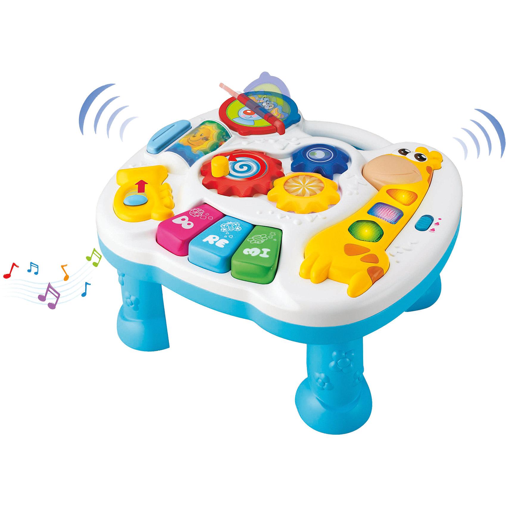 Музыкальный развивающий стол, KeenwayМузыкальный развивающий стол от Keenway (Кинвэй) - отличный подарок крохе. Ведь в панели компактного размера собрано столько всего интересного: можно крутить разноцветные шестеренки, рассматривать перекидные картинки с животными, нажимать на кнопочки, двигать рычажок и даже изучать ноты. Развивающий стол очень привлекателен для ребенка, ведь любое действие малыша сопровождается разными интересными звуками и световыми эффектами. Главным преимуществом этого столика является то, что благодаря устойчивым ножкам с ним можно играть сидя или стоя на полу. Отделенную от ножек панель можно подвесить на кровать или манеж или положить на стол, поэтому Вы сможете пользоваться столиком где Вам удобно.<br><br>Дополнительная информация: <br><br>- Столик прекрасно развивает моторику, слуховое восприятие и координацию;<br>- Множество развивающих функций;<br>- Звуковые и световые эффекты;<br>- Съемные ножки;<br>- Можно подвесить на кроватку;<br>- Размер панели: 26 х 26 см;<br>- Размер упаковки: 8,3 х 38,1 х 26,7 см;<br>- Вес: 0,9 кг<br><br>Музыкальный развивающий стол, Keenway (Кинвэй) можно купить в нашем интернет-магазине<br><br>Ширина мм: 83<br>Глубина мм: 381<br>Высота мм: 267<br>Вес г: 990<br>Возраст от месяцев: 6<br>Возраст до месяцев: 36<br>Пол: Унисекс<br>Возраст: Детский<br>SKU: 4001683