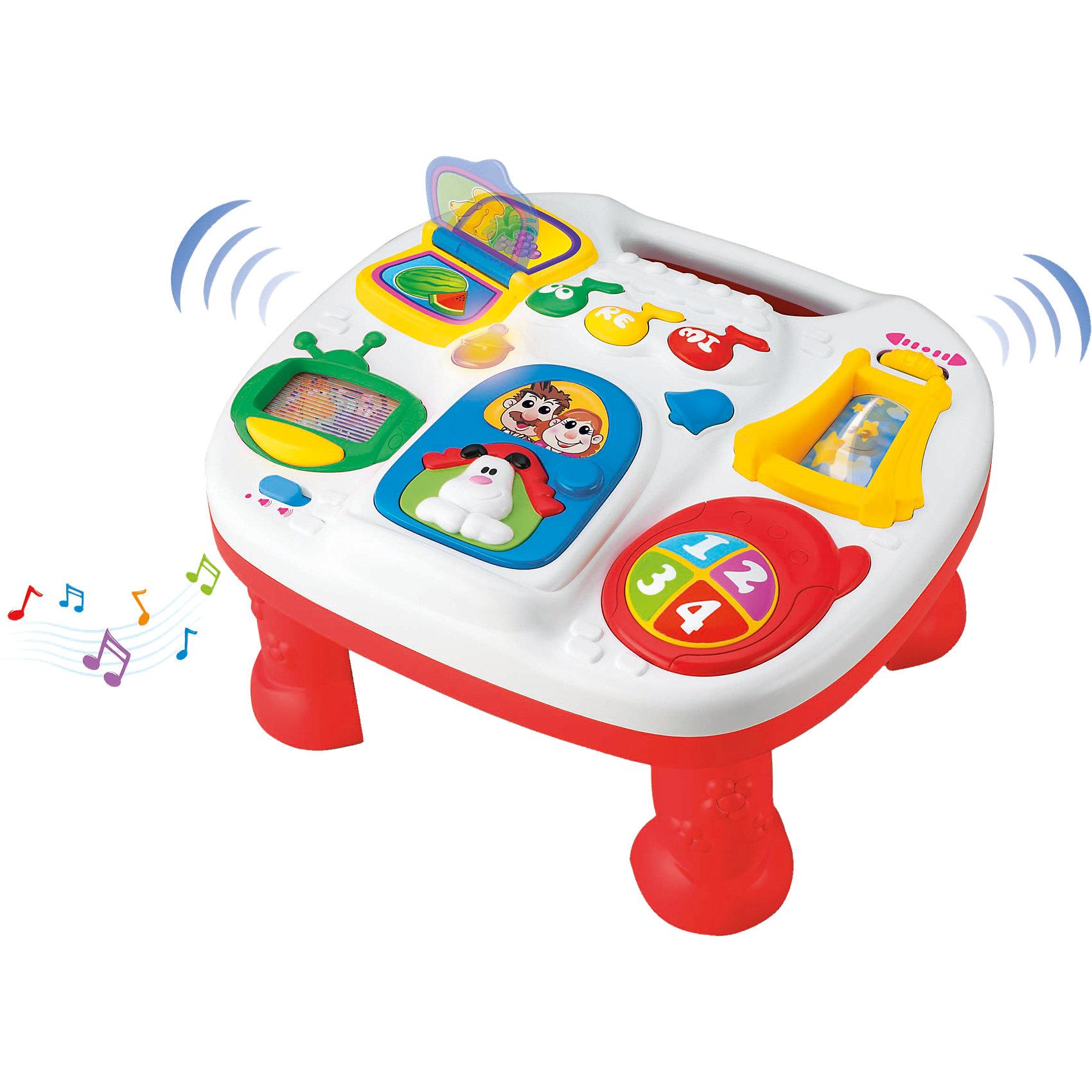 Музыкальный обучающий стол, KeenwayМузыкальный обучающий стол от Keenway (Кинвэй) - отличный подарок крохе. Ведь в панели компактного размера собрано столько всего интересного: можно крутить яркое колесико, рассматривать перекидные картинки, нажимать на кнопочки, услышать звуки телефона, лай собаки и даже изучать ноты. Развивающий стол очень привлекателен для ребенка, ведь любое действие малыша сопровождается разными интересными звуками и световыми эффектами. Главным преимуществом этого столика является то, что благодаря устойчивым ножкам с ним можно играть сидя или стоя на полу. Отделенную от ножек панель можно подвесить на кровать или манеж или положить на стол, поэтому Вы сможете пользоваться столиком где Вам удобно.<br><br>Дополнительная информация: <br><br>- Столик прекрасно развивает моторику, слуховое восприятие и координацию;<br>- Множество развивающих функций;<br>- Звуковые и световые эффекты;<br>- Съемные ножки;<br>- Можно подвесить на кроватку;<br>- Размер панели: 28 х 25 см;<br>- Размер упаковки: 8,3 х 38,1 х 26,7 см;<br>- Вес: 0,8 кг<br><br>Музыкальный обучающий стол, Keenway (Кинвэй) можно купить в нашем интернет-магазине<br><br>Ширина мм: 83<br>Глубина мм: 381<br>Высота мм: 267<br>Вес г: 824<br>Возраст от месяцев: 6<br>Возраст до месяцев: 36<br>Пол: Унисекс<br>Возраст: Детский<br>SKU: 4001684