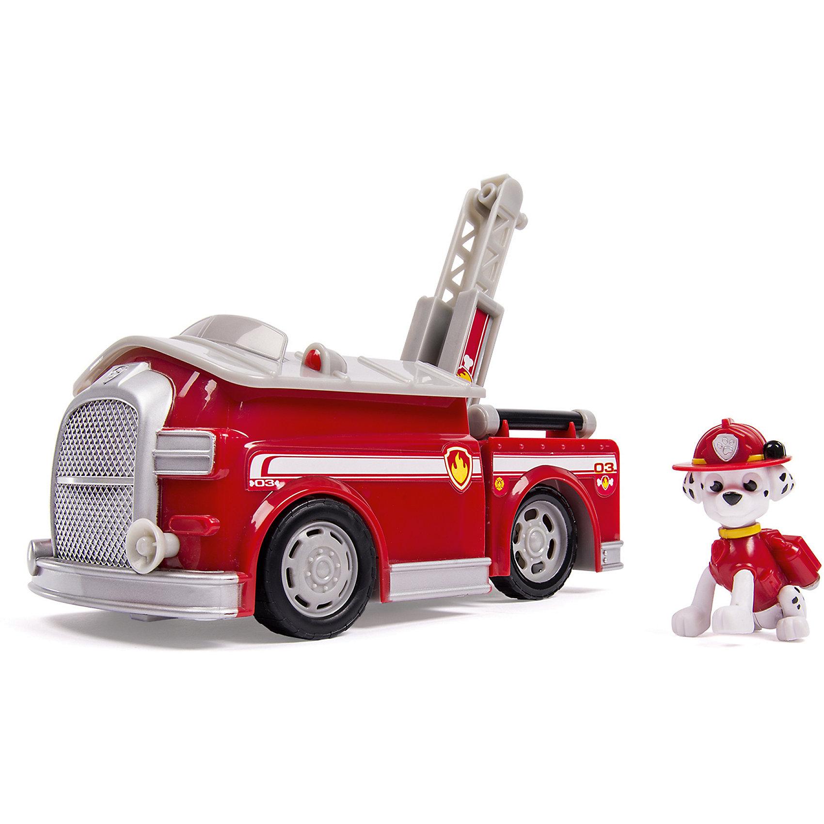 Большой автомобиль спасателя Маршал, со звуком, Щенячий патруль, Spin MasterНастоящая пожарная машина - копия машины из мультсериала Paw Patrol (Щенячий патруль), приведет в восторг любого ребенка! Отважный щенок Маршал, одетый в пожарную форму, всегда готов прийти на выручку. Стоит только включить сирену, как в мультфильме, выдвинуть пожарную лестницу и приключения начнутся! В остальное время машина служит уютным домиком для щенка. Играй вместе со спасателем Маршалом, проигрывай сцены из любимого мультсериала или придумывай свои новые истории. Игрушка прекрасно детализирована, выполнена из высококачественных прочных материалов, безопасна для детей. <br><br>Дополнительная информация:<br><br>- Размер: 13х30х25 см.<br>- Материал: пластик.<br>- Звуковые эффекты ( звуки и фразы).<br>- Комплектация: фигурка щенка, машина. <br>- Подвижные элементы машины - колеса, лестница. <br>- Машинка трансформируется в домик щенка.<br>- Голова и задние лапы щенка подвижны. <br>- Работает от 3 батареек LR44 / AG13. (в комплекте).<br><br>Большой автомобиль спасателей со звуком, Щенячий патруль, Spin Master (Спин Мастер) можно купить в нашем магазине.<br><br>Ширина мм: 130<br>Глубина мм: 305<br>Высота мм: 250<br>Вес г: 920<br>Возраст от месяцев: 36<br>Возраст до месяцев: 72<br>Пол: Мужской<br>Возраст: Детский<br>SKU: 4004740