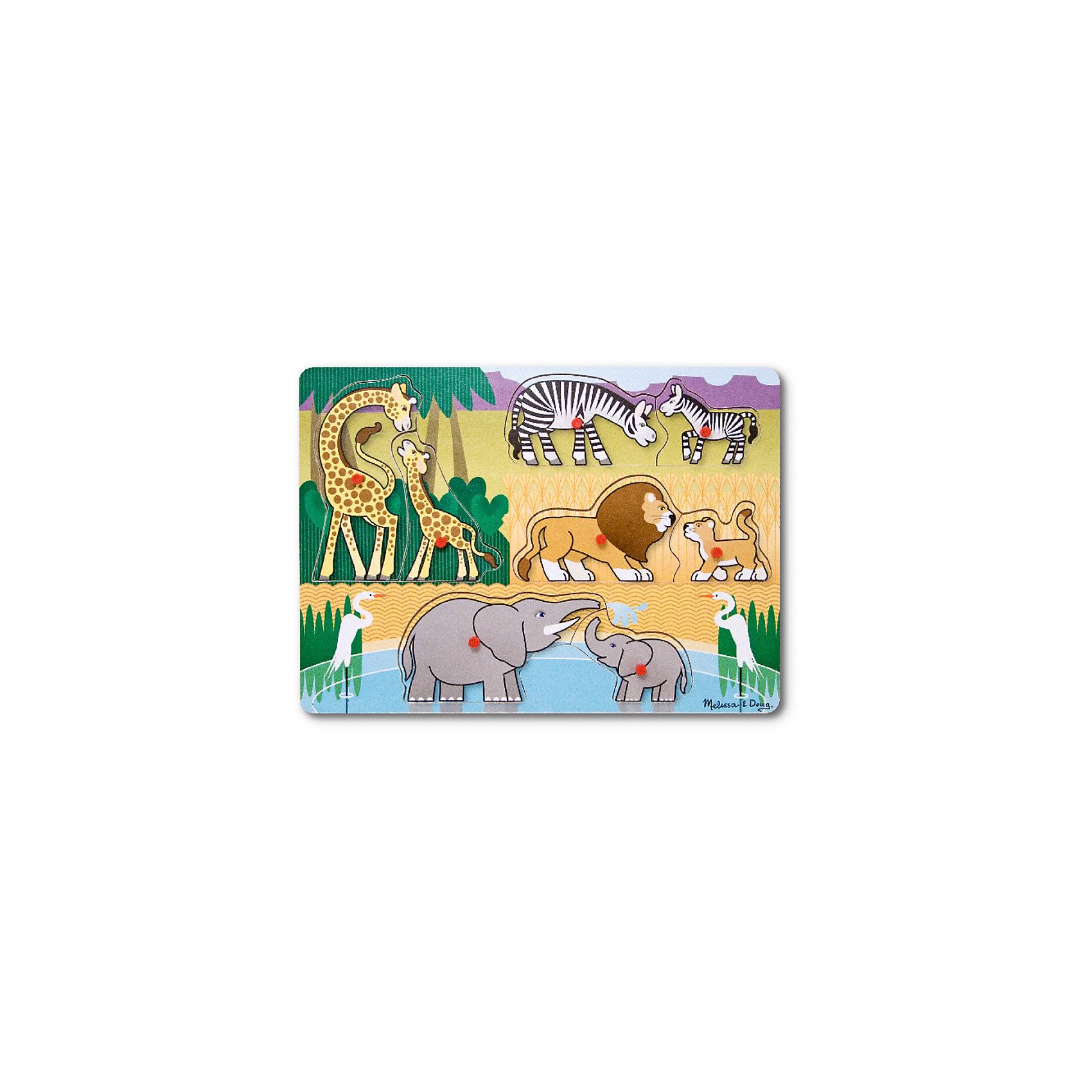 Рамка-вкладыш Сафари с кнопкой, 8 деталей, Melissa &amp; DougДеревянные игры и пазлы<br>Пазл Сафари с кнопкой, 8 деталей, Melissa &amp; Doug (Мелисса и Даг) –  это уникальный познавательный пазл для вашего малыша.<br>Деревянный пазл Сафари из восьми фигурок животных станет первым любимым пазлом вашего малыша. Ребенку будет интересно отыскать родителей для всех животных-детенышей, представленных на этом пазле. В центре каждой картинки есть удобная ручка, за которую элемент пазла удобно держать и вставлять в подходящее для него место. Собирая пазл, ребенок развивает мелкую моторику и логическое мышление.<br><br>Дополнительная информация:<br><br>- Количество элементов: 8<br>- Материал: дерево<br>- Размер: 30х22х1 см.<br><br>Пазл Сафари с кнопкой, 8 деталей, Melissa &amp; Doug (Мелисса и Даг) можно купить в нашем интернет-магазине.<br><br>Ширина мм: 100<br>Глубина мм: 300<br>Высота мм: 220<br>Вес г: 407<br>Возраст от месяцев: 24<br>Возраст до месяцев: 48<br>Пол: Унисекс<br>Возраст: Детский<br>Количество деталей: 8<br>SKU: 4005799